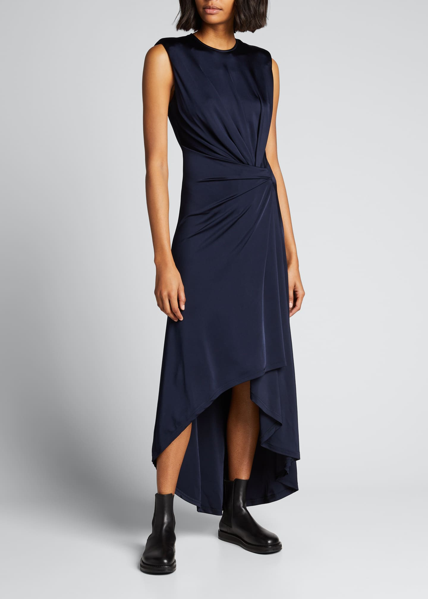 Image 1 of 5: Gathered Jersey Power-Shoulder Dress