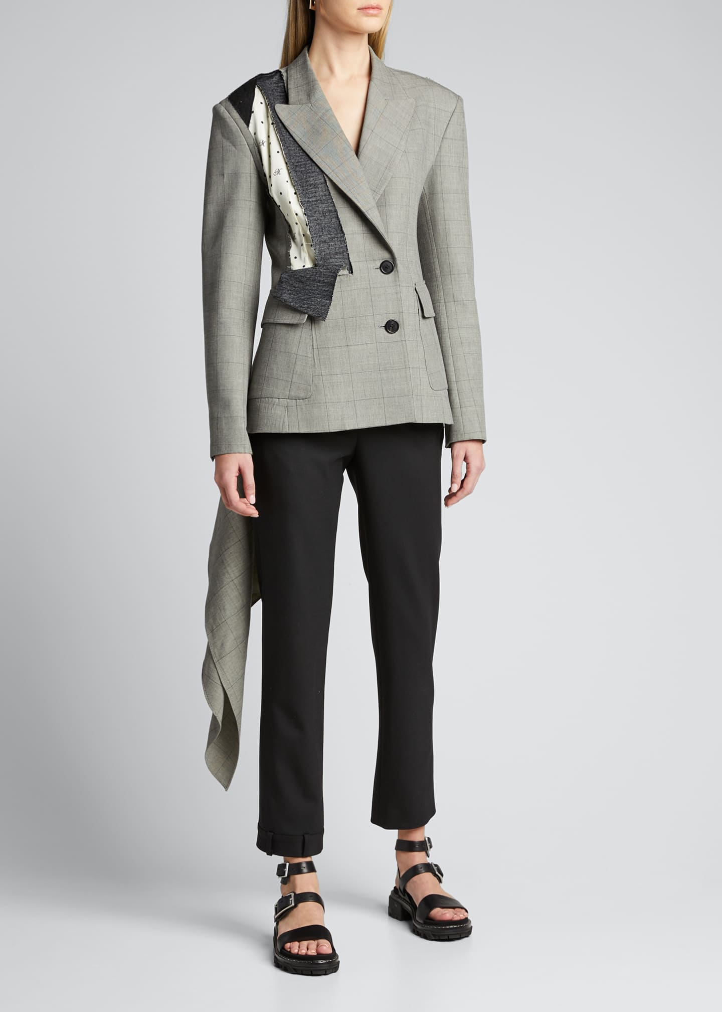 Image 3 of 5: Dotted Plaid Deconstructed Jacket