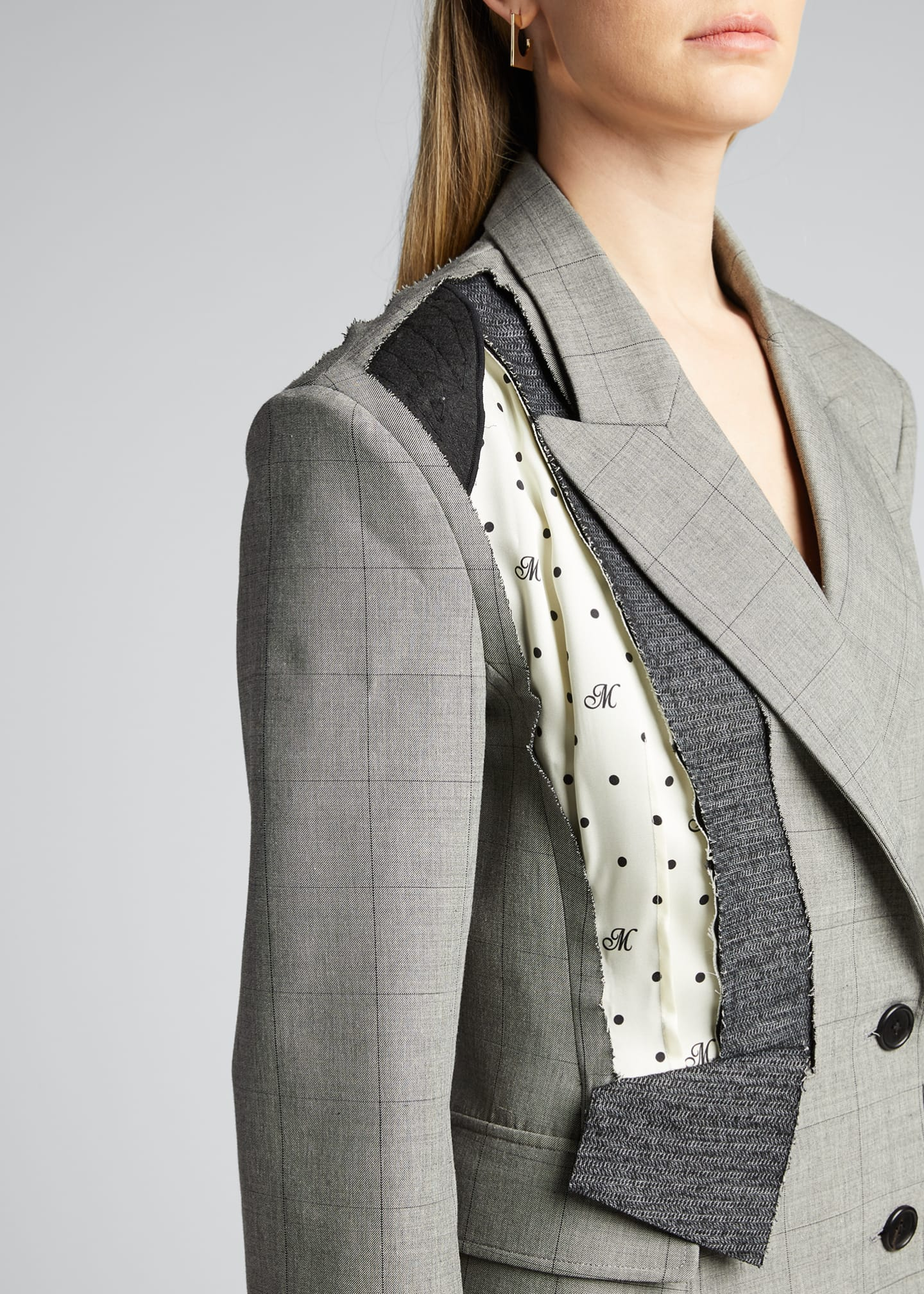 Image 4 of 5: Dotted Plaid Deconstructed Jacket