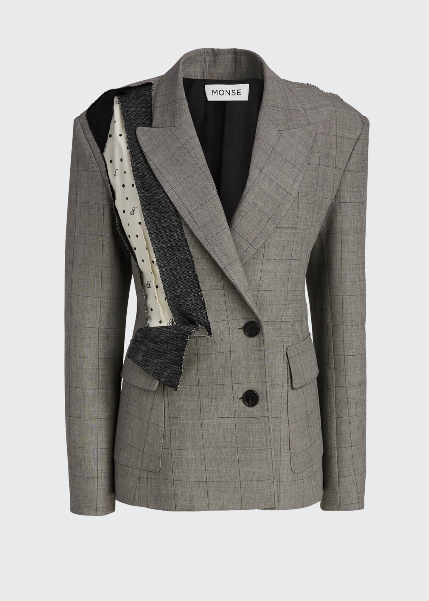 Image 5 of 5: Dotted Plaid Deconstructed Jacket