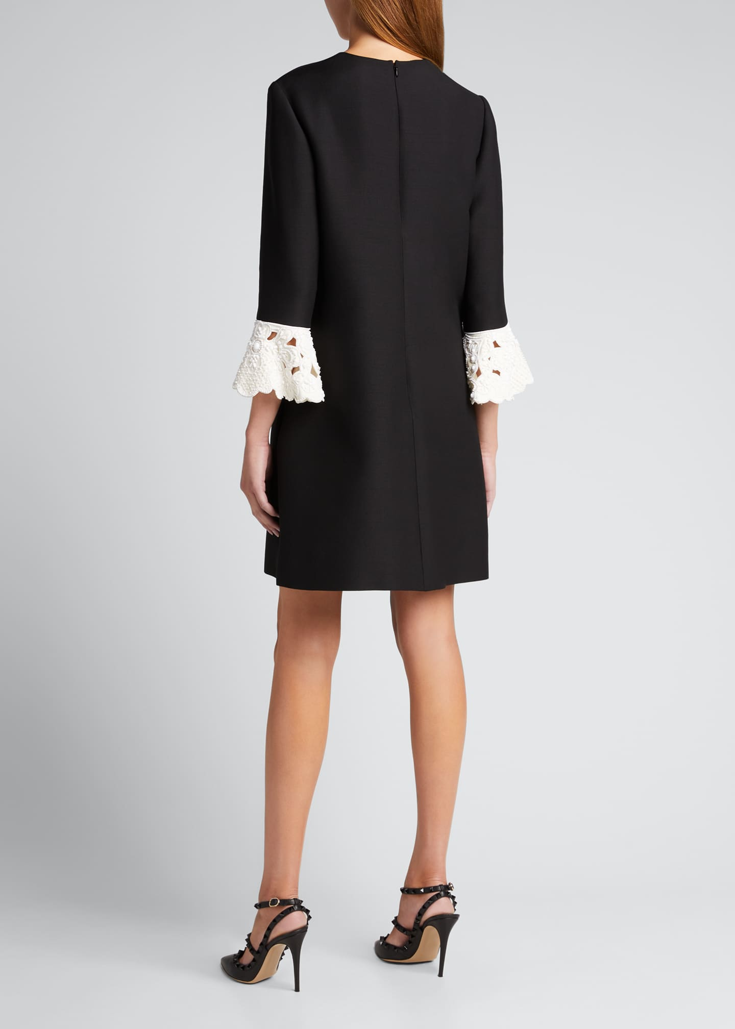 Image 2 of 5: Lace-Cuff Wool-Silk Shift Dress