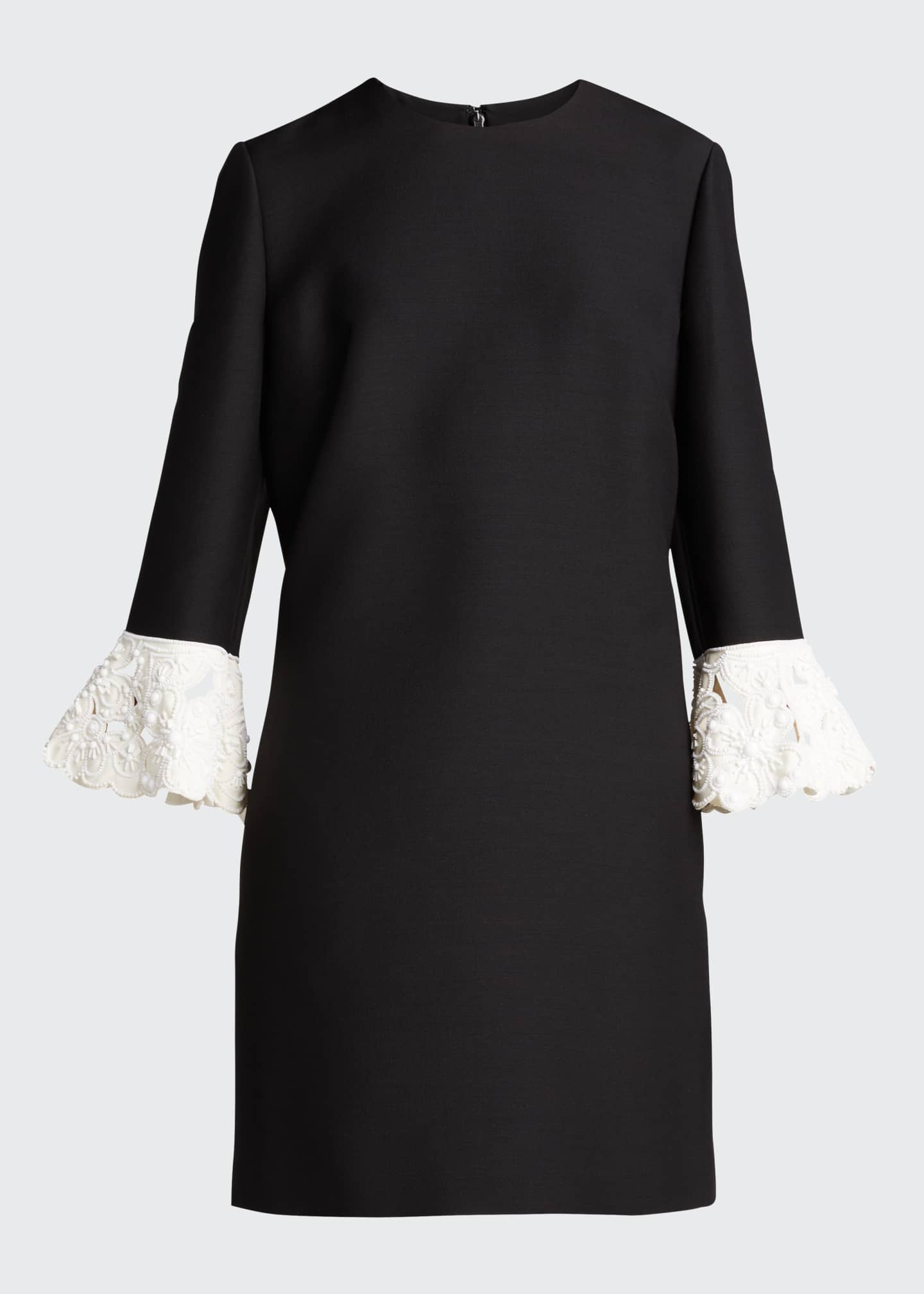 Image 5 of 5: Lace-Cuff Wool-Silk Shift Dress