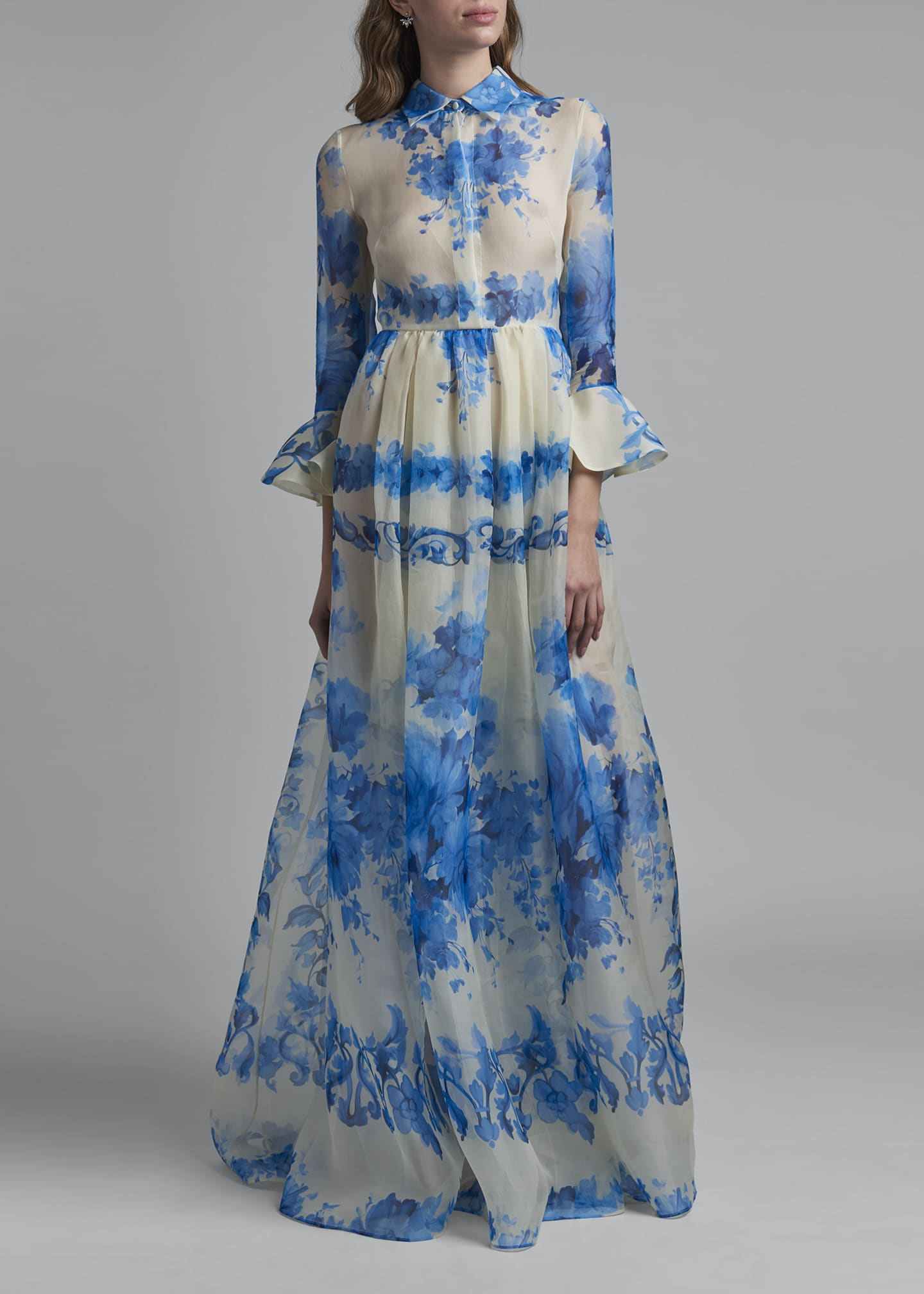 Image 1 of 2: Trumpet-Sleeve Silk Shirt Gown