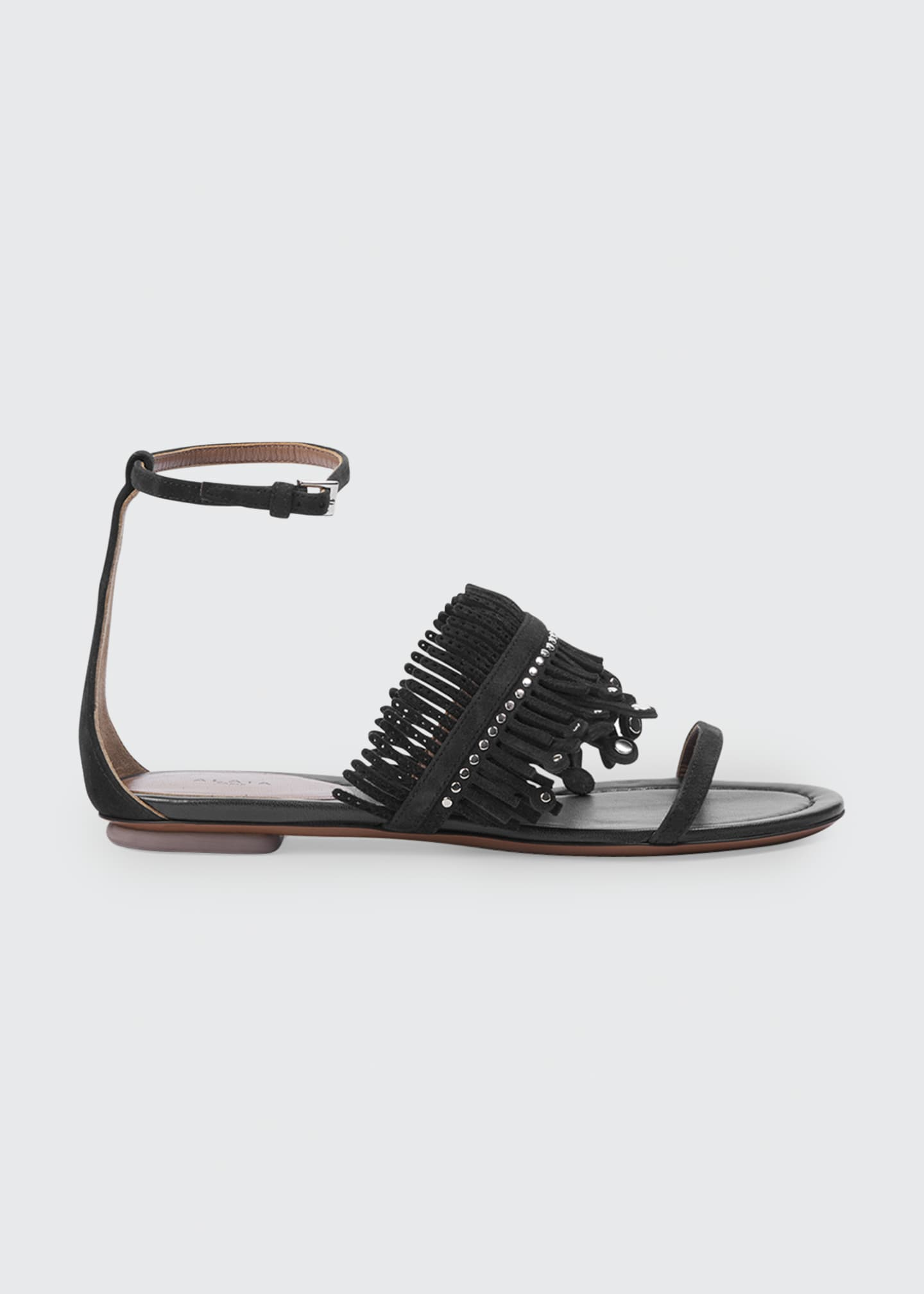 Image 1 of 3: Suede Fringe Flat Sandals