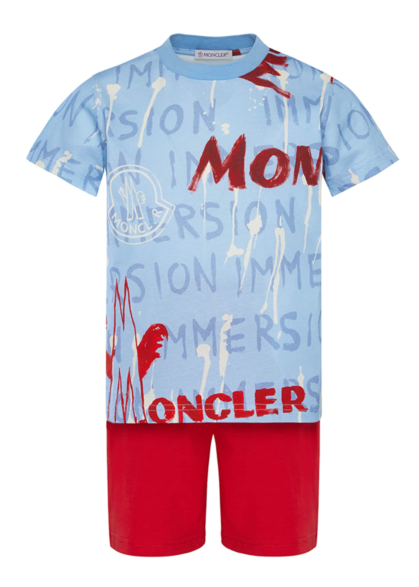Image 1 of 2: Boy's Logo Graphic Tee w/ Solid Shorts, Size 8-14