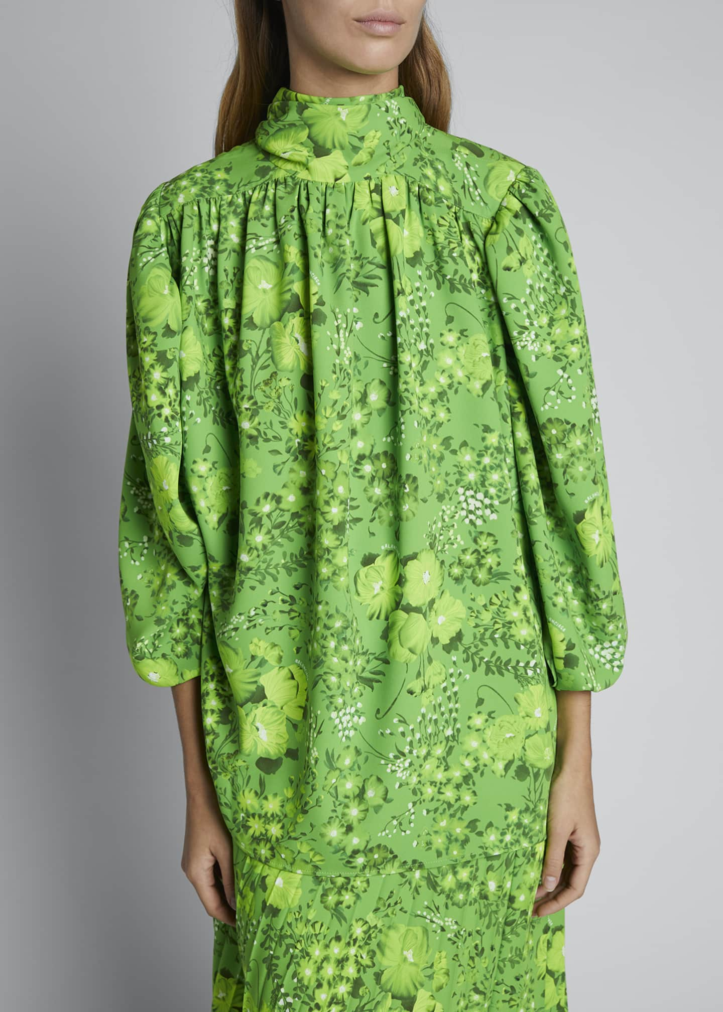 Image 3 of 3: Floral Crepe Long-Sleeve Turtleneck Blouse