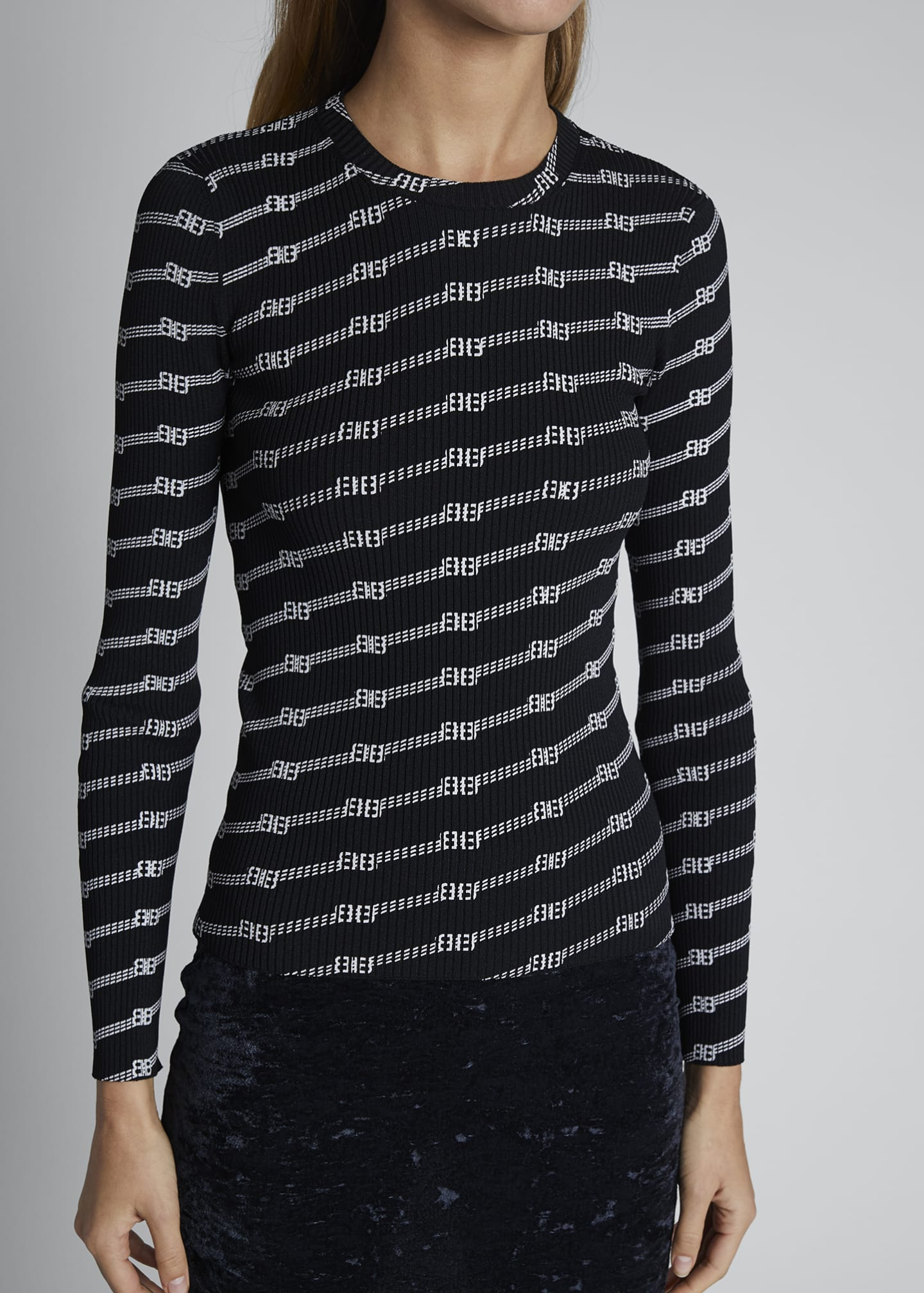 Image 3 of 3: Print Knit Long-Sleeve Crewneck Sweater