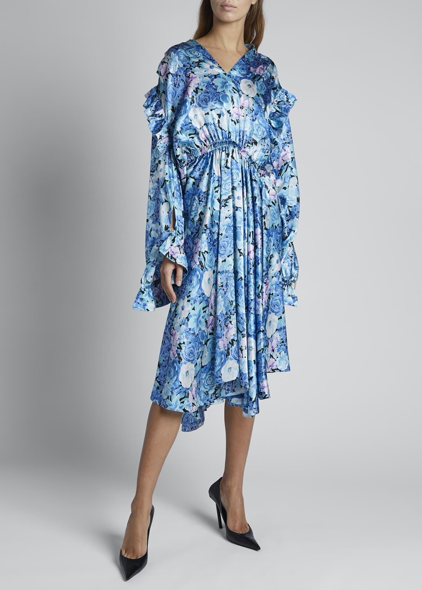 Image 2 of 4: Floral Silk Satin Long-Sleeve High-Neck Gathered Dress