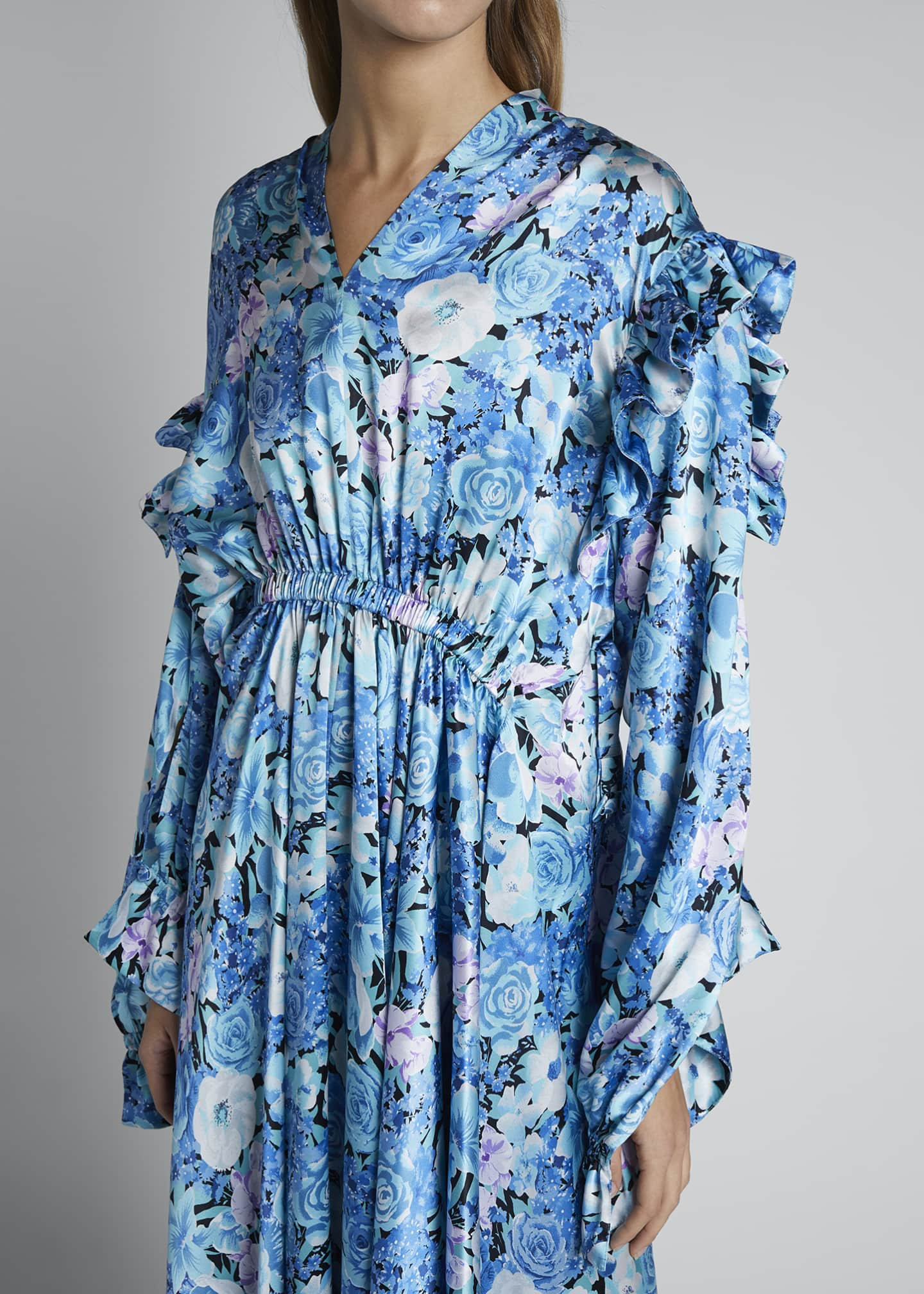 Image 4 of 4: Floral Silk Satin Long-Sleeve High-Neck Gathered Dress
