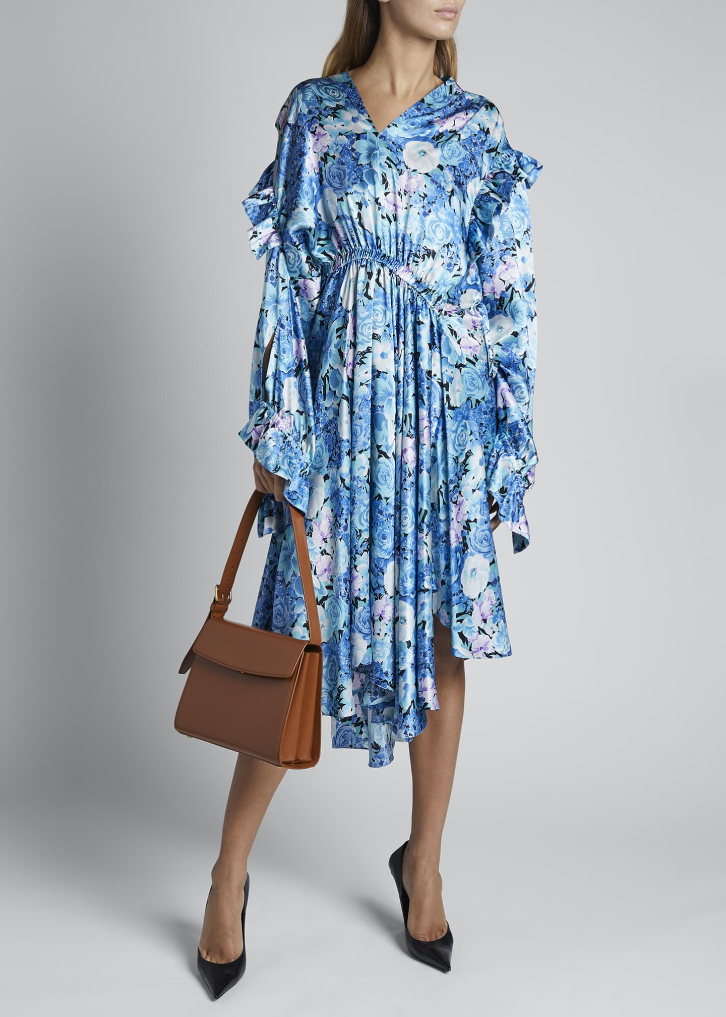 Image 1 of 4: Floral Silk Satin Long-Sleeve High-Neck Gathered Dress