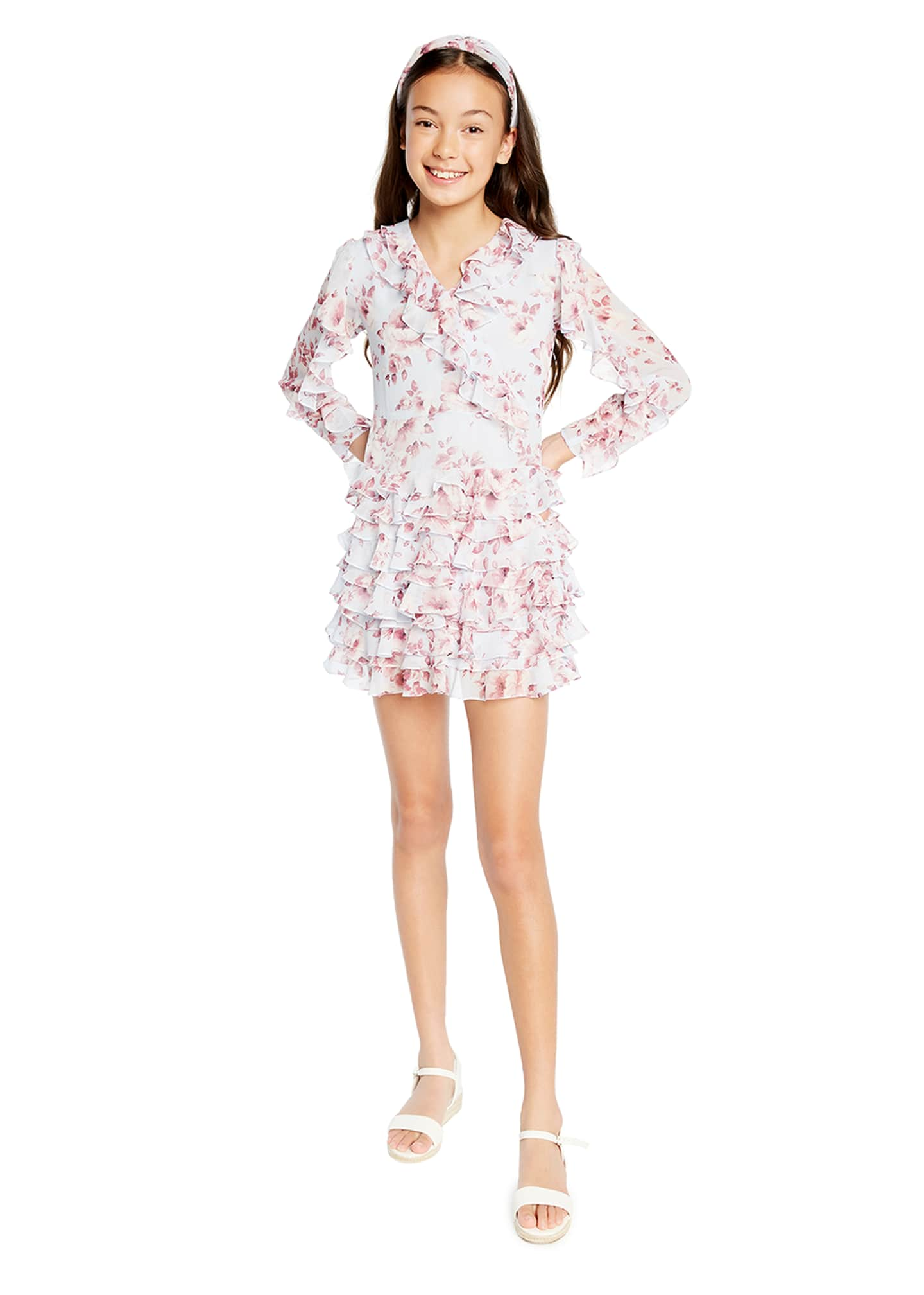 Image 2 of 3: Girl's Lianna Floral-Print Frill Dress, Size 7-16