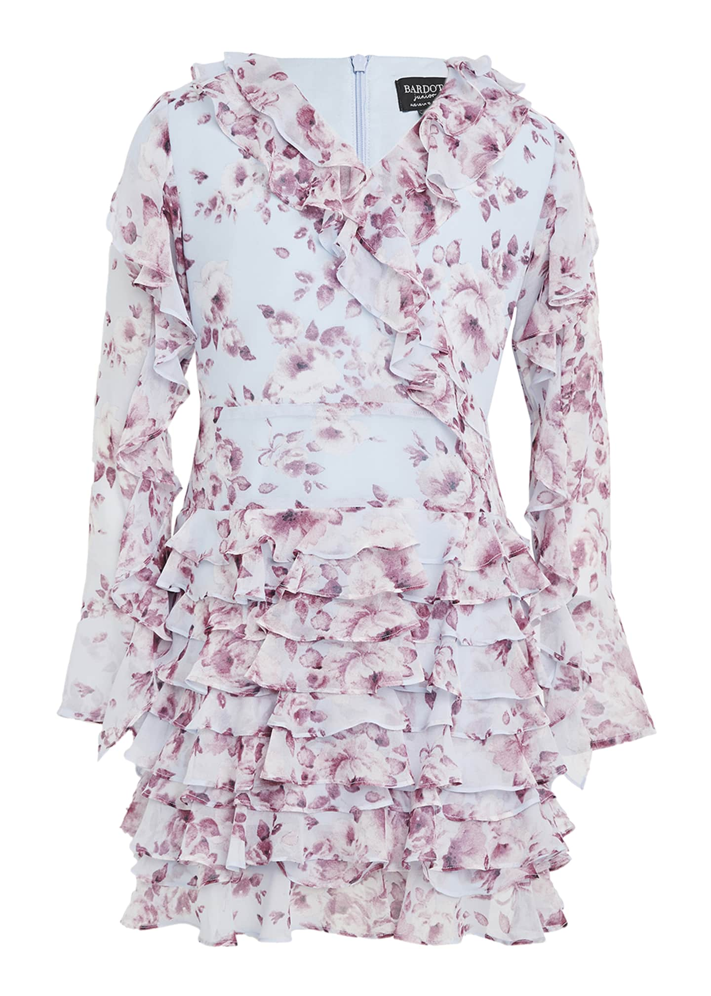 Image 1 of 3: Girl's Lianna Floral-Print Frill Dress, Size 7-16