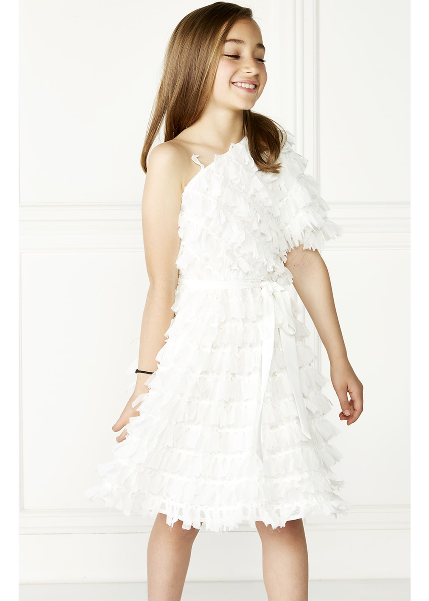 Image 2 of 3: Girl's Gretta One-Shoulder Frill Dress, Size 7-16