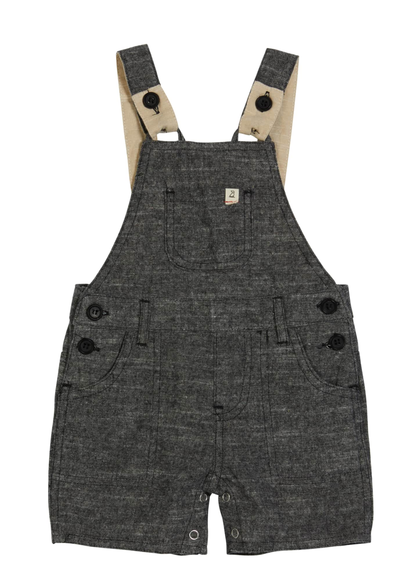 Image 1 of 2: Boy's Woven Cotton Overalls w/ Children's Book, Size 6-24 Months