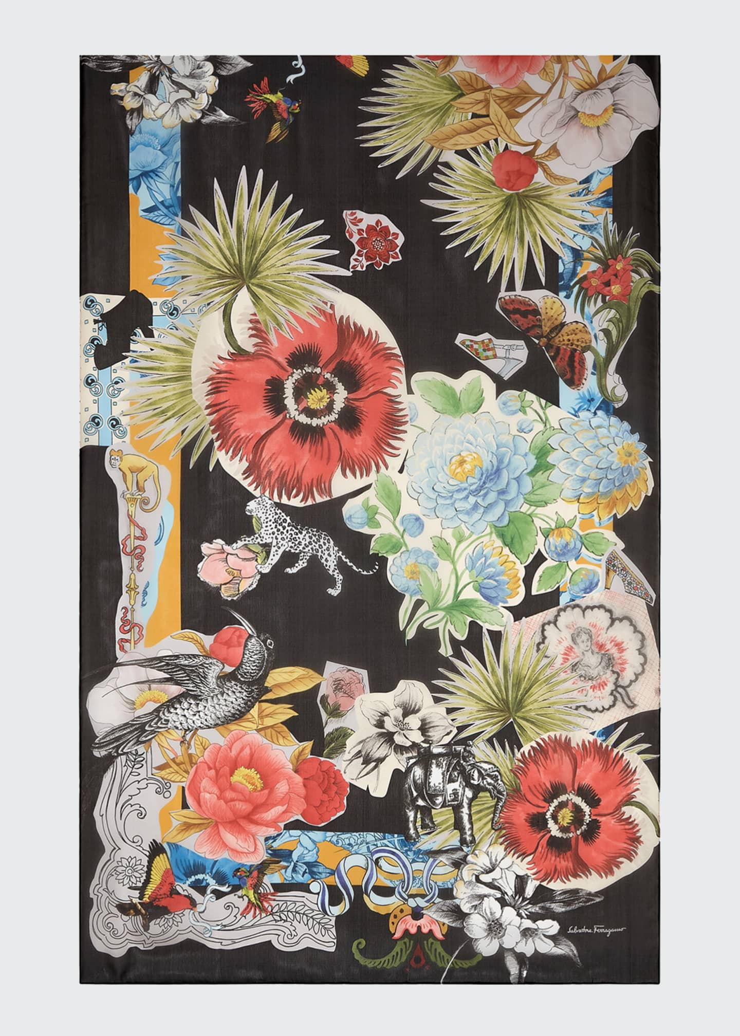 Image 1 of 1: Floral Collage Silk Stole
