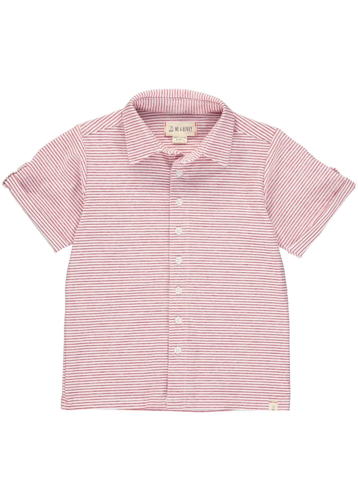 Image 1 of 1: Boy's Striped Button-Front Shirt w/ Children's Book, Size 3T-10