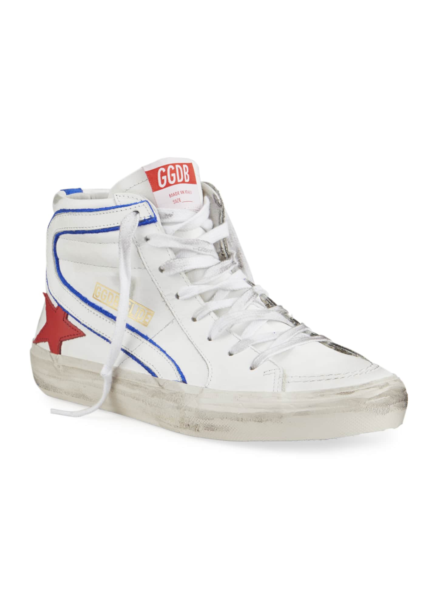 Image 2 of 4: Men's Slide Vintage Star Leather Mid-Top Sneakers