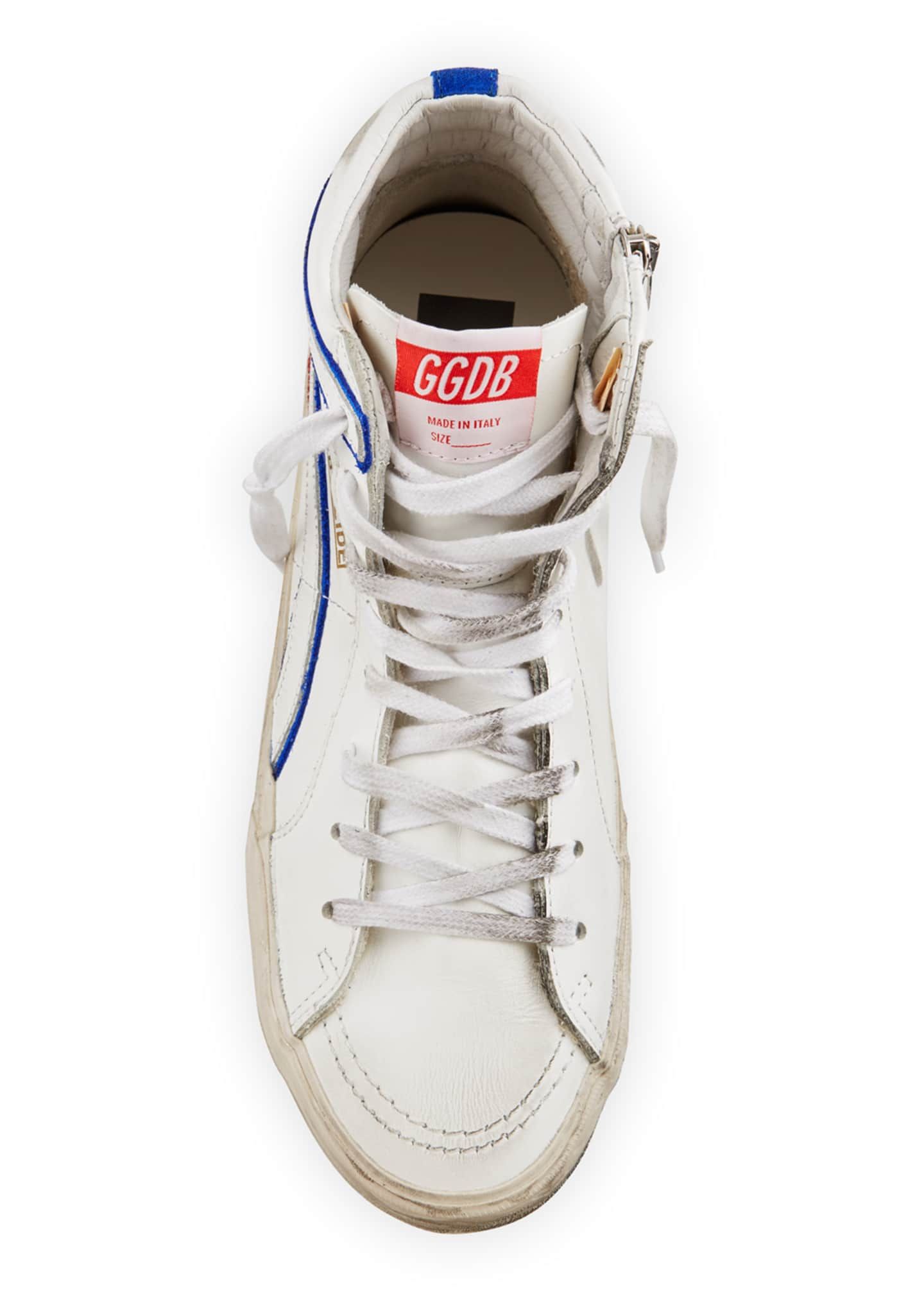 Image 3 of 4: Men's Slide Vintage Star Leather Mid-Top Sneakers