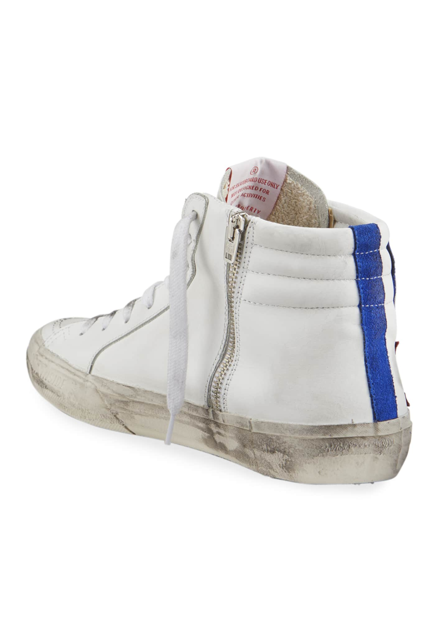 Image 4 of 4: Men's Slide Vintage Star Leather Mid-Top Sneakers