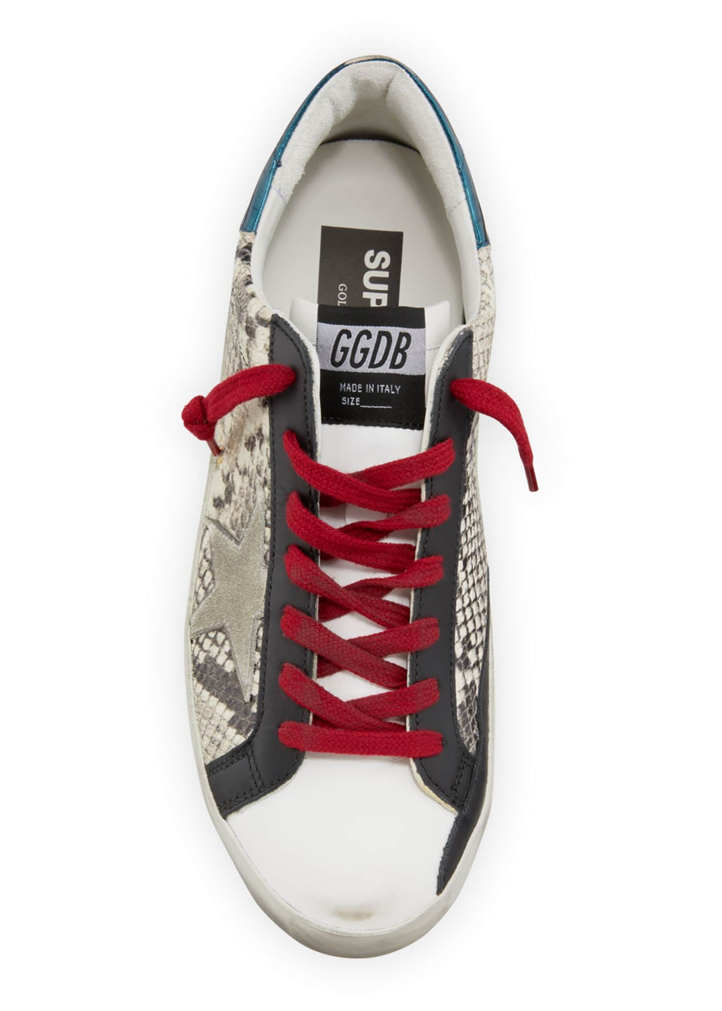 Image 2 of 4: Men's Superstar Vintage Snake-Print Leather Sneakers