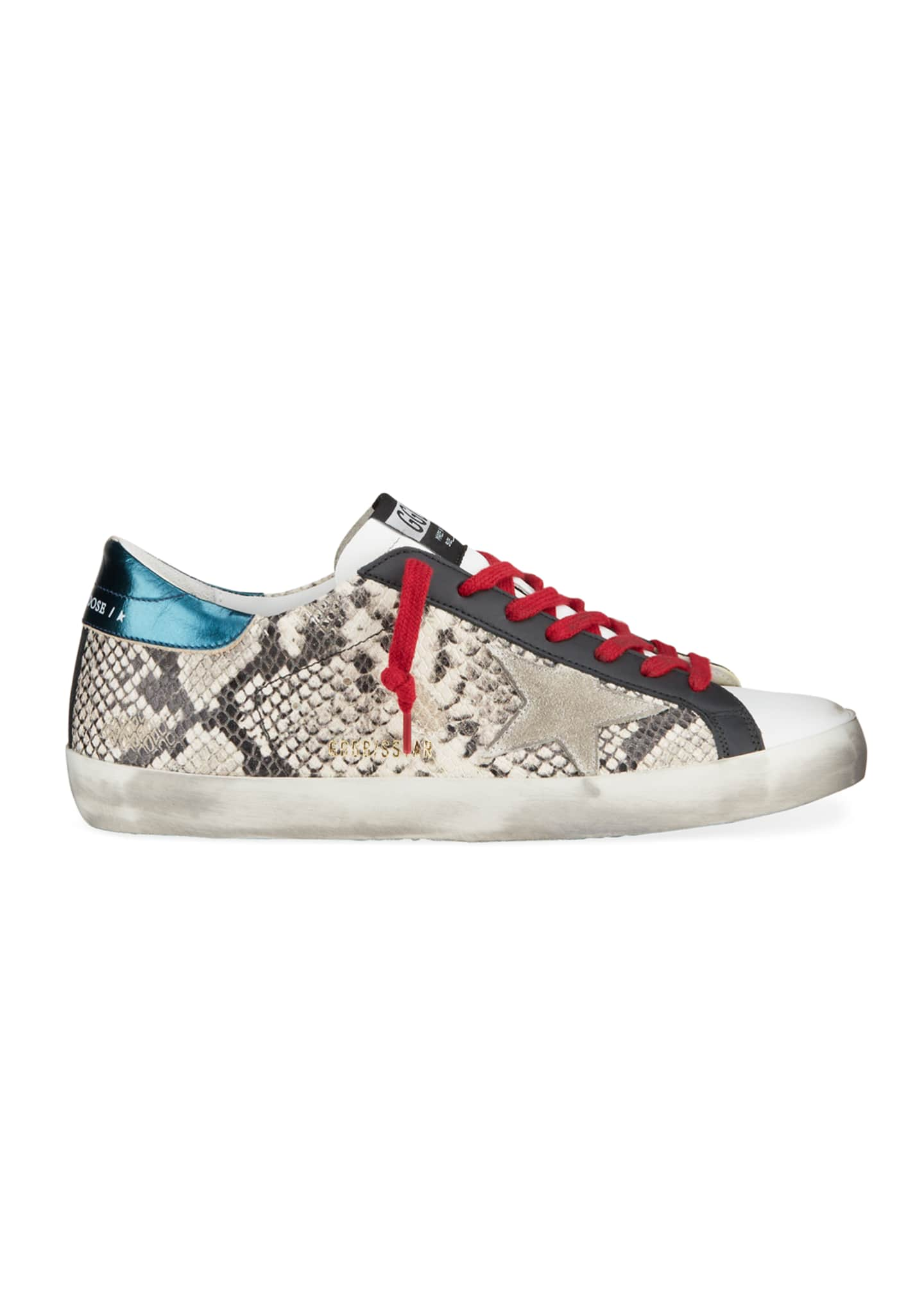 Image 3 of 4: Men's Superstar Vintage Snake-Print Leather Sneakers