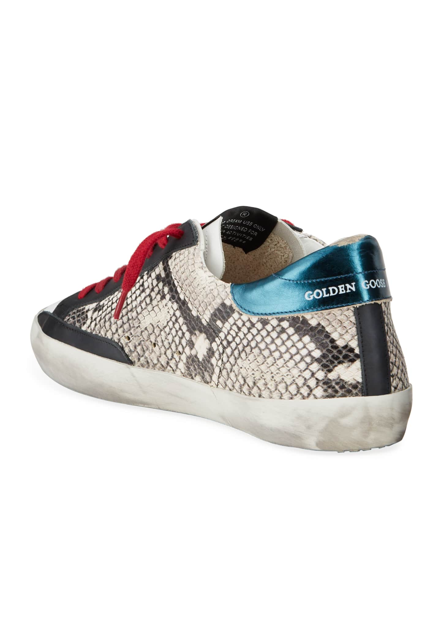 Image 4 of 4: Men's Superstar Vintage Snake-Print Leather Sneakers
