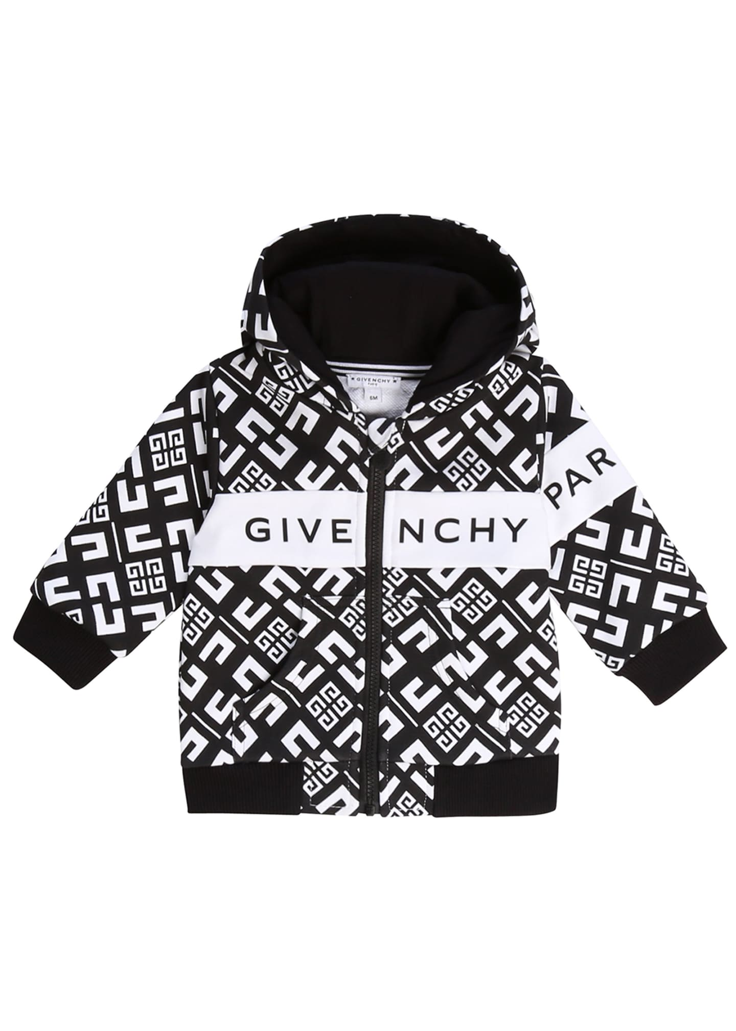 Image 1 of 1: Boy's 4G Zip-Front Hooded Logo Cardigan, Size 2-3