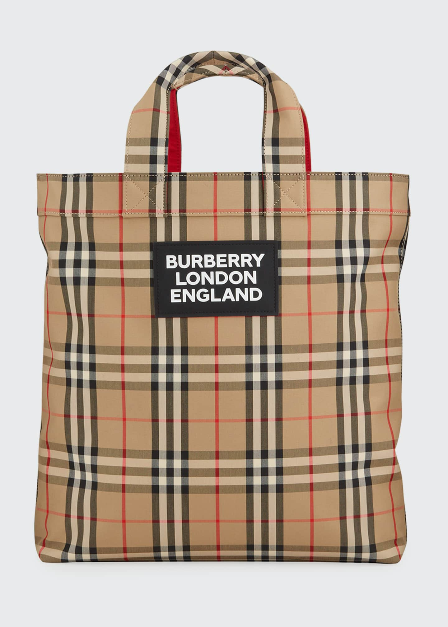 Image 1 of 3: Men's Vintage Check Logo Tote Bag