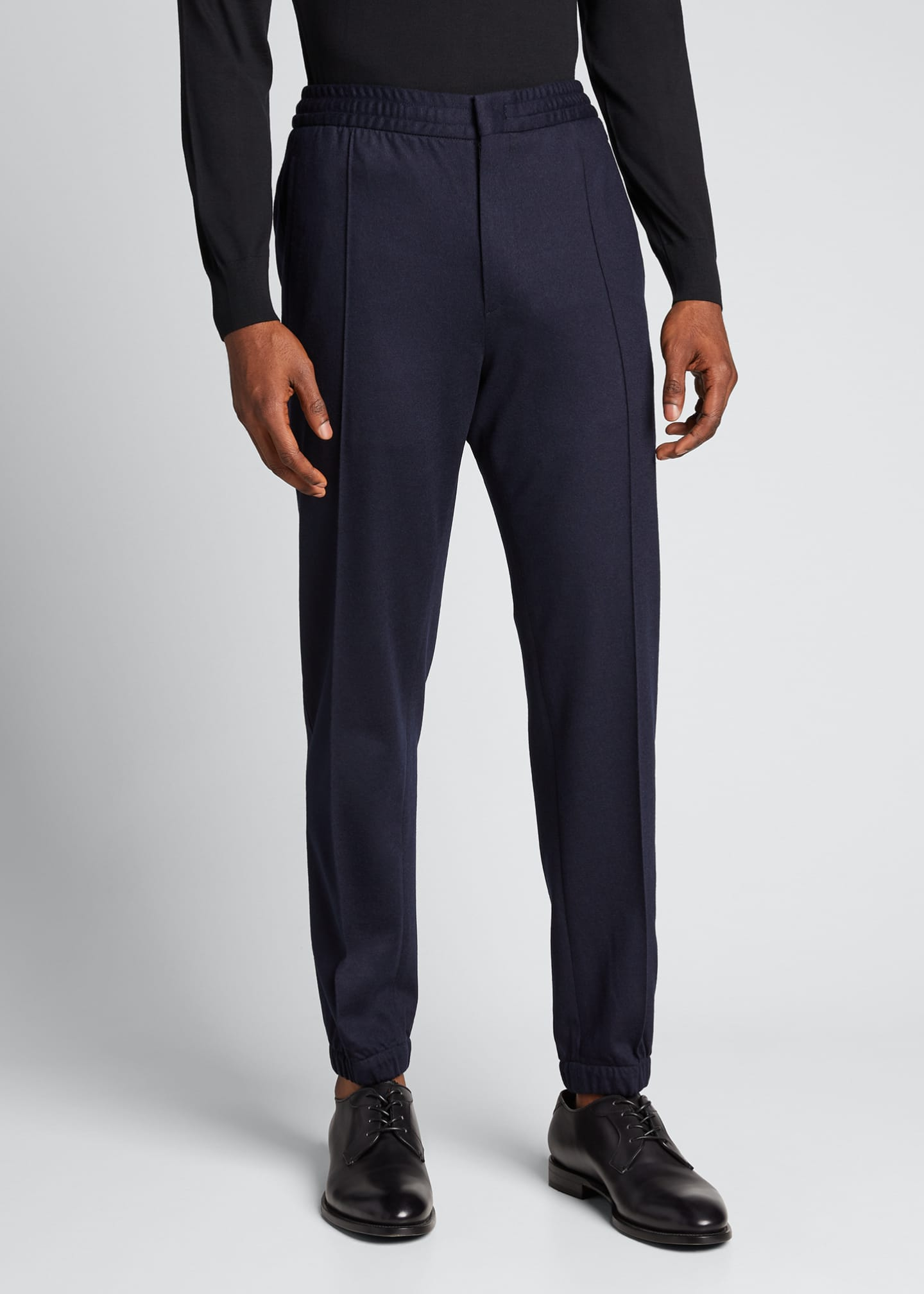 Image 3 of 5: Men's Solid Wool Jogger Trousers