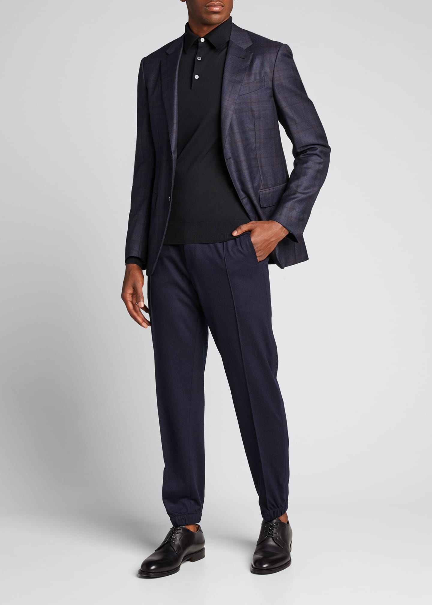 Image 1 of 5: Men's Solid Wool Jogger Trousers