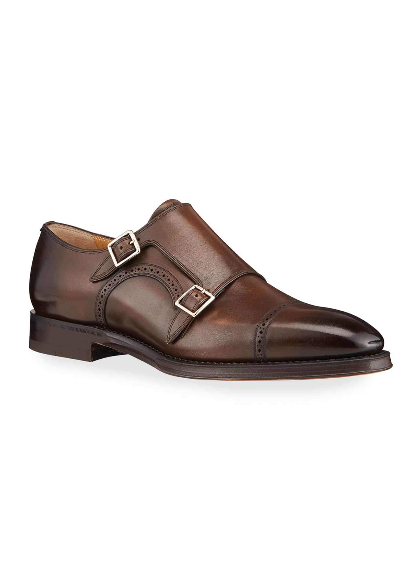 Image 2 of 4: Men's Scardino Scribe Leather Double-Monk Loafers