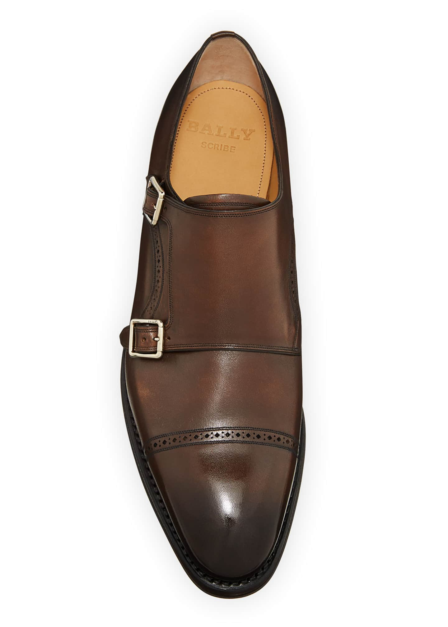 Image 3 of 4: Men's Scardino Scribe Leather Double-Monk Loafers