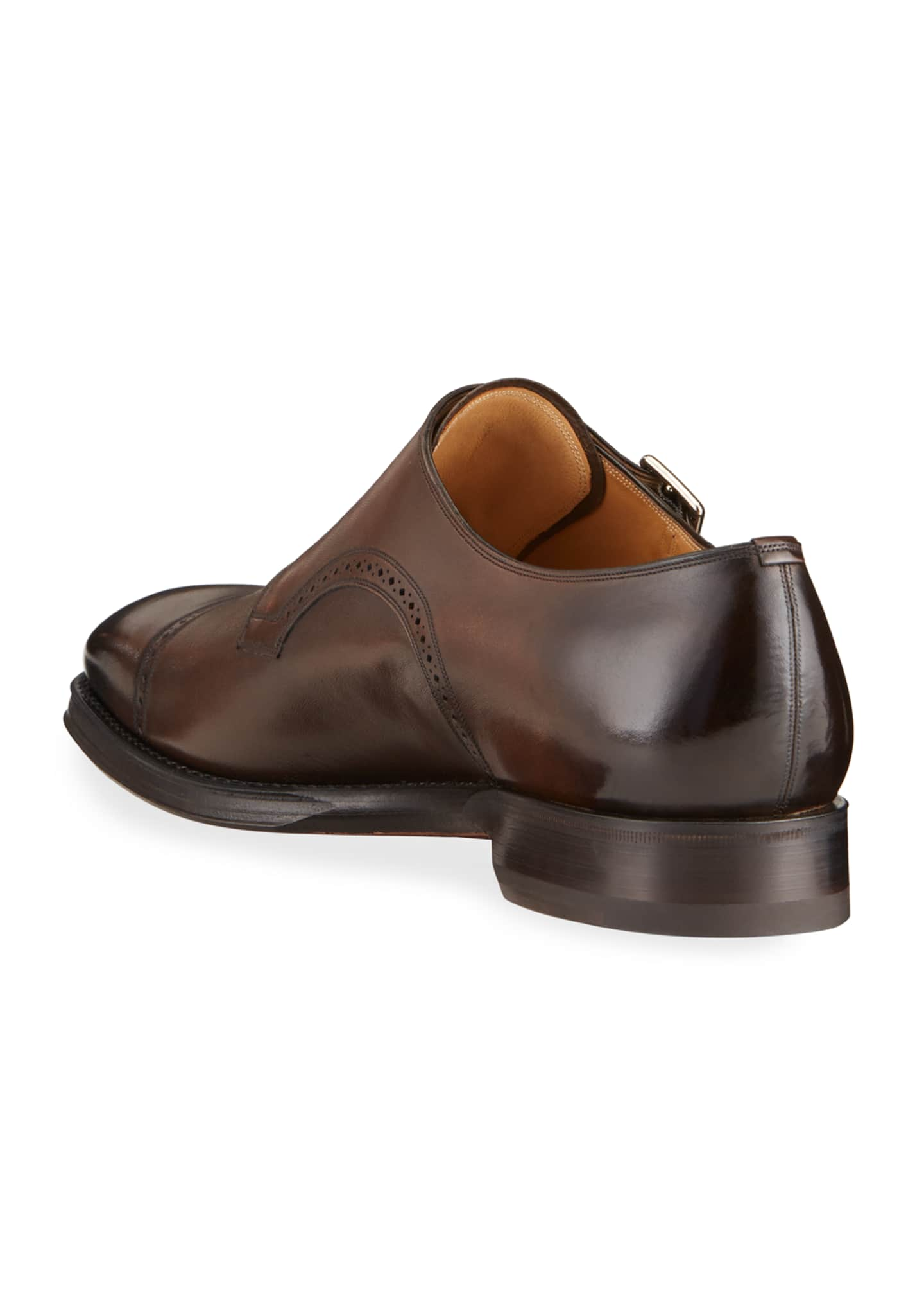 Image 4 of 4: Men's Scardino Scribe Leather Double-Monk Loafers