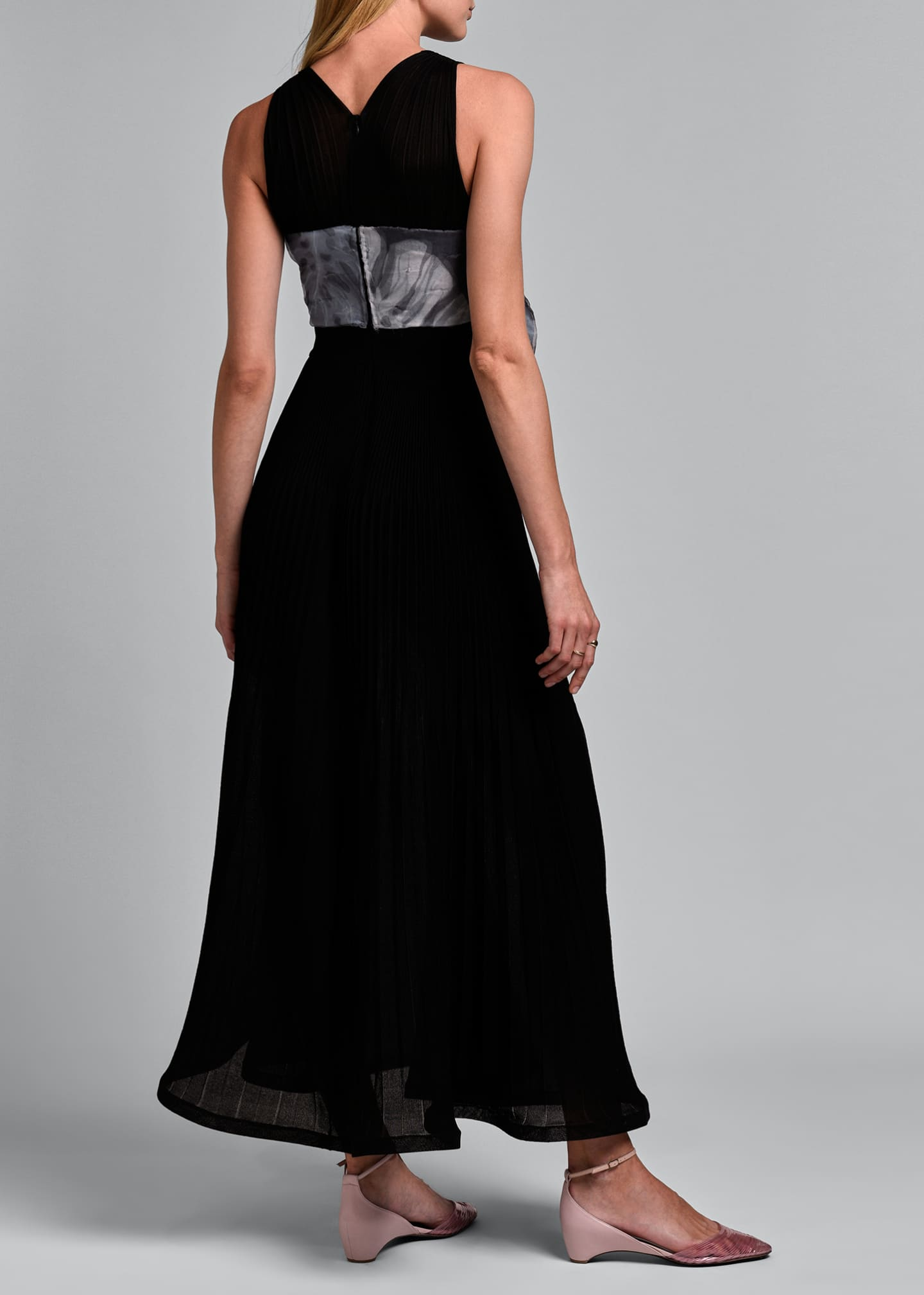 Image 2 of 4: Sleeveless V-neck Pleated Gown with Oversize Bow