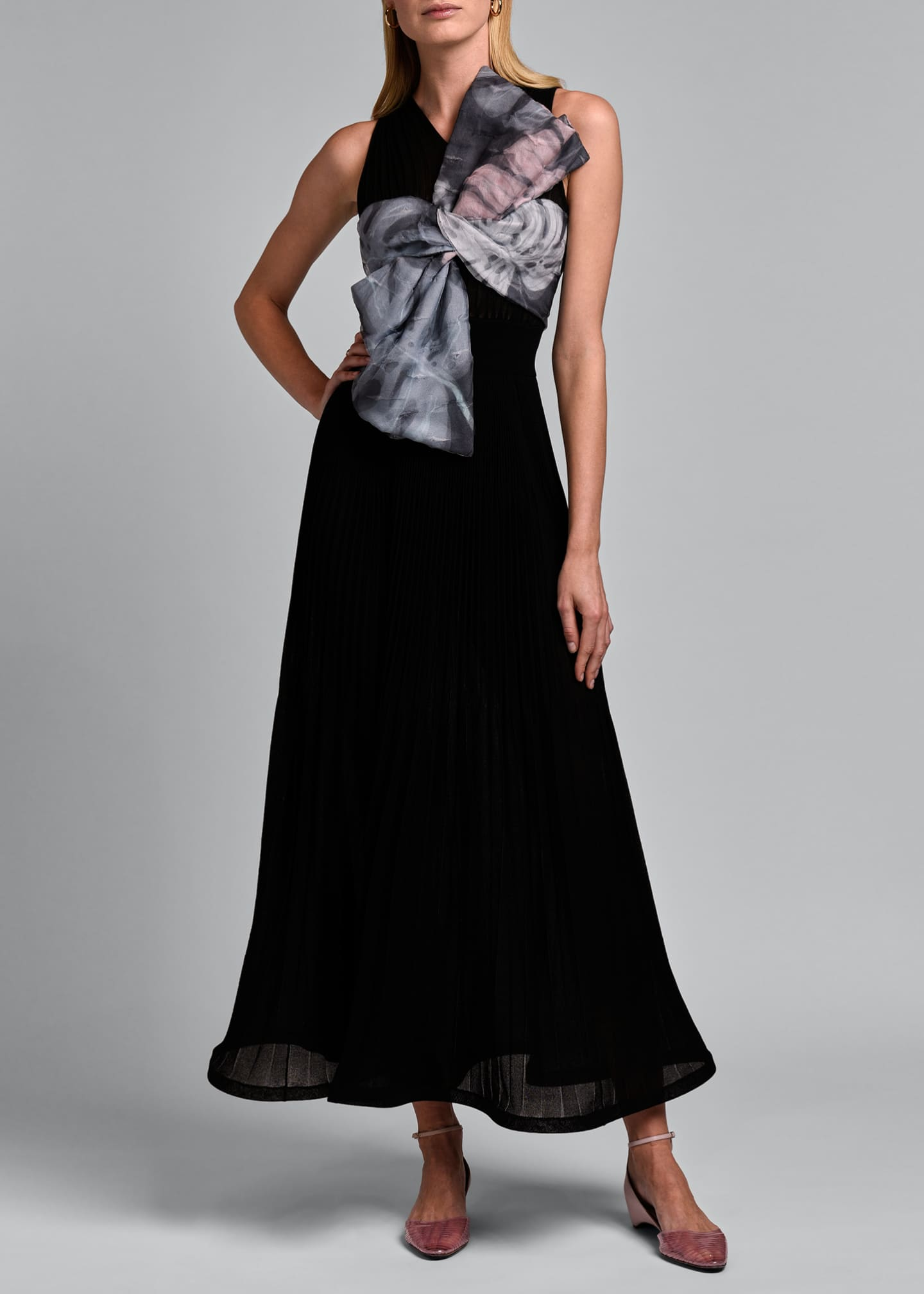 Image 3 of 4: Sleeveless V-neck Pleated Gown with Oversize Bow
