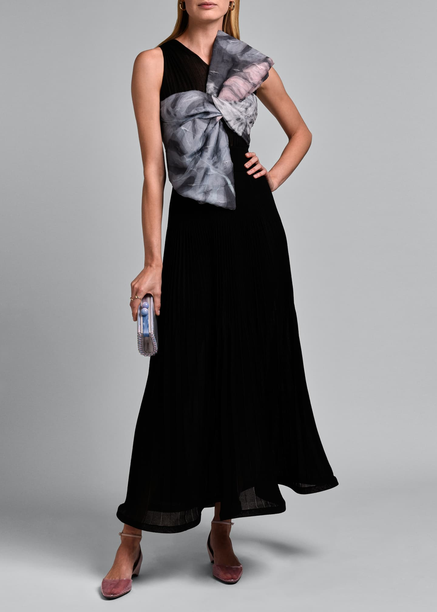 Image 1 of 4: Sleeveless V-neck Pleated Gown with Oversize Bow