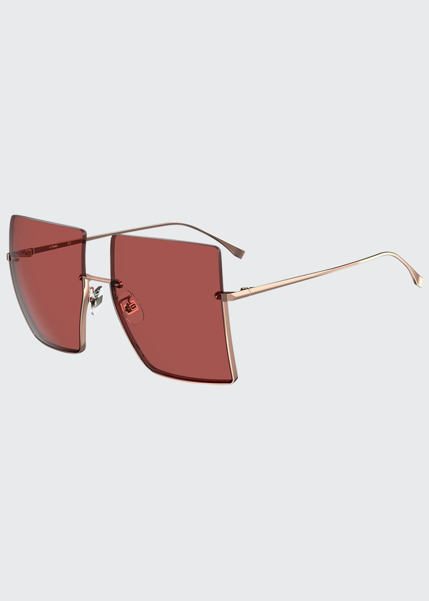 Image 1 of 1: Semi-Rimless Square Sunglasses