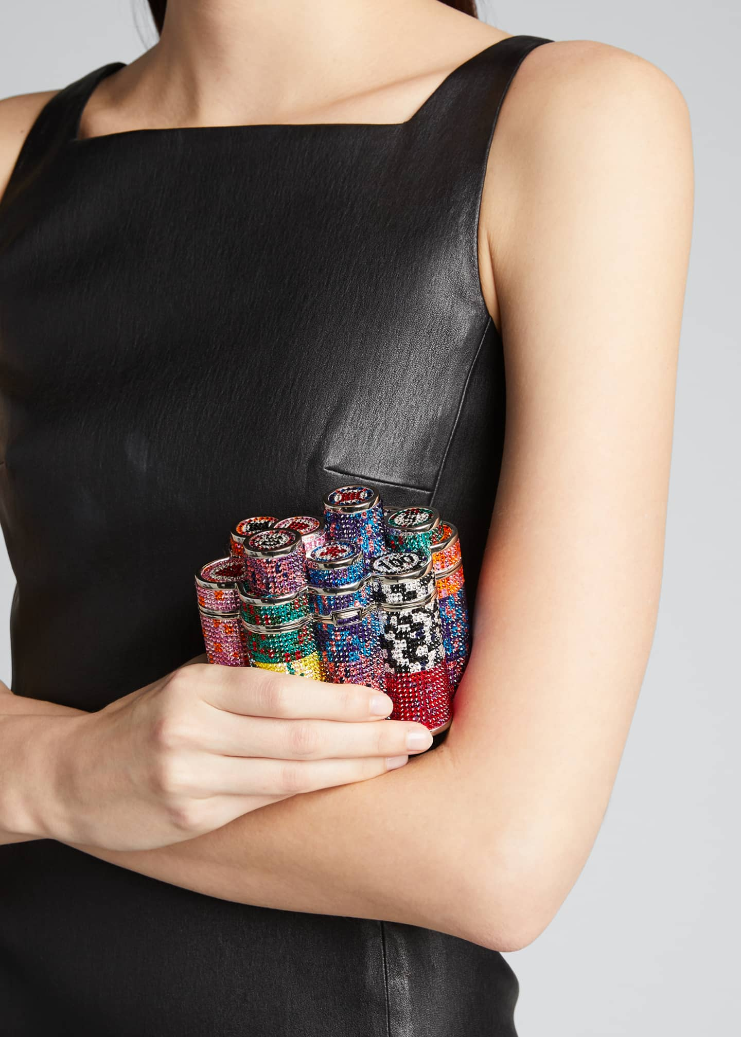 Image 2 of 5: Coins Stack Poker Chips Clutch Minaudiere