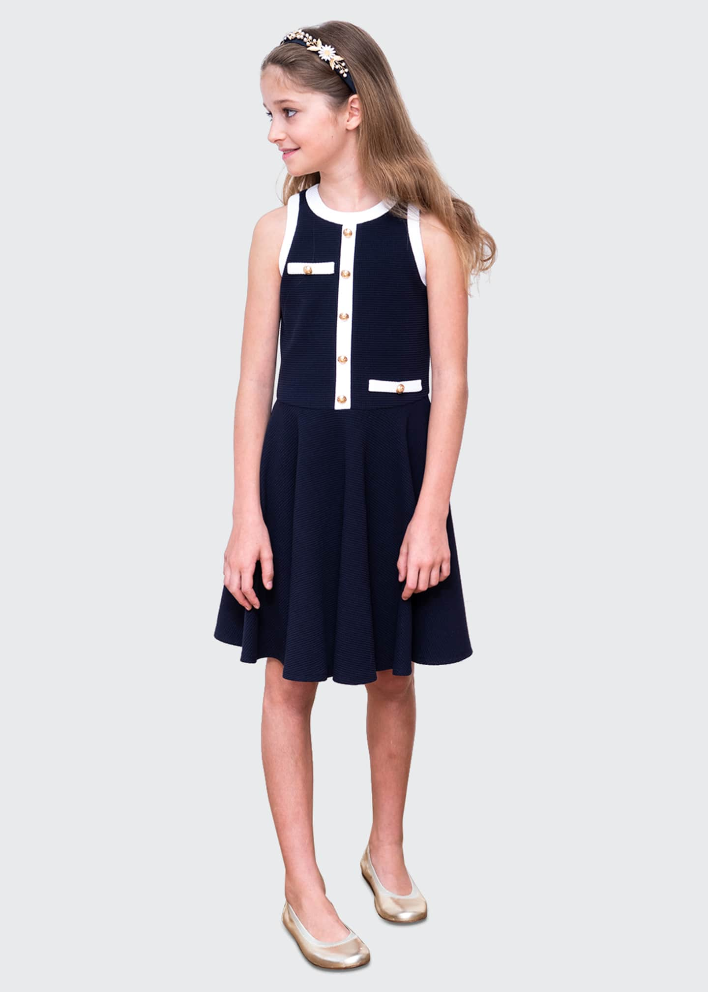 Image 2 of 4: Girl's Spectator Contrast Trim Sleeveless Dress, Size 10-16