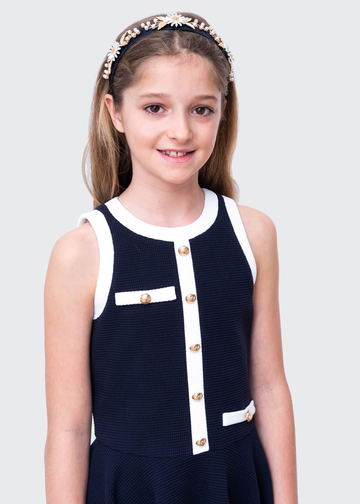 Image 3 of 4: Girl's Spectator Contrast Trim Sleeveless Dress, Size 10-16