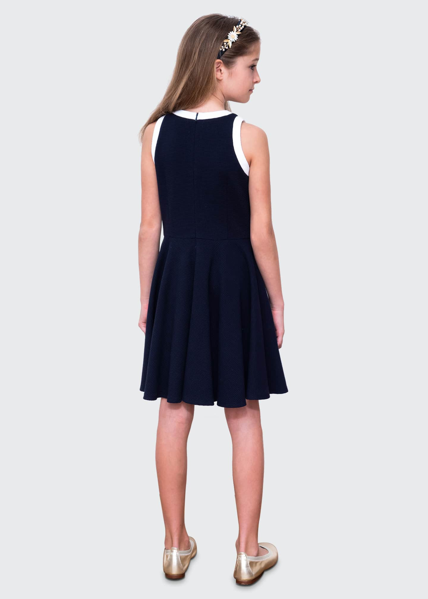 Image 4 of 4: Girl's Spectator Contrast Trim Sleeveless Dress, Size 10-16