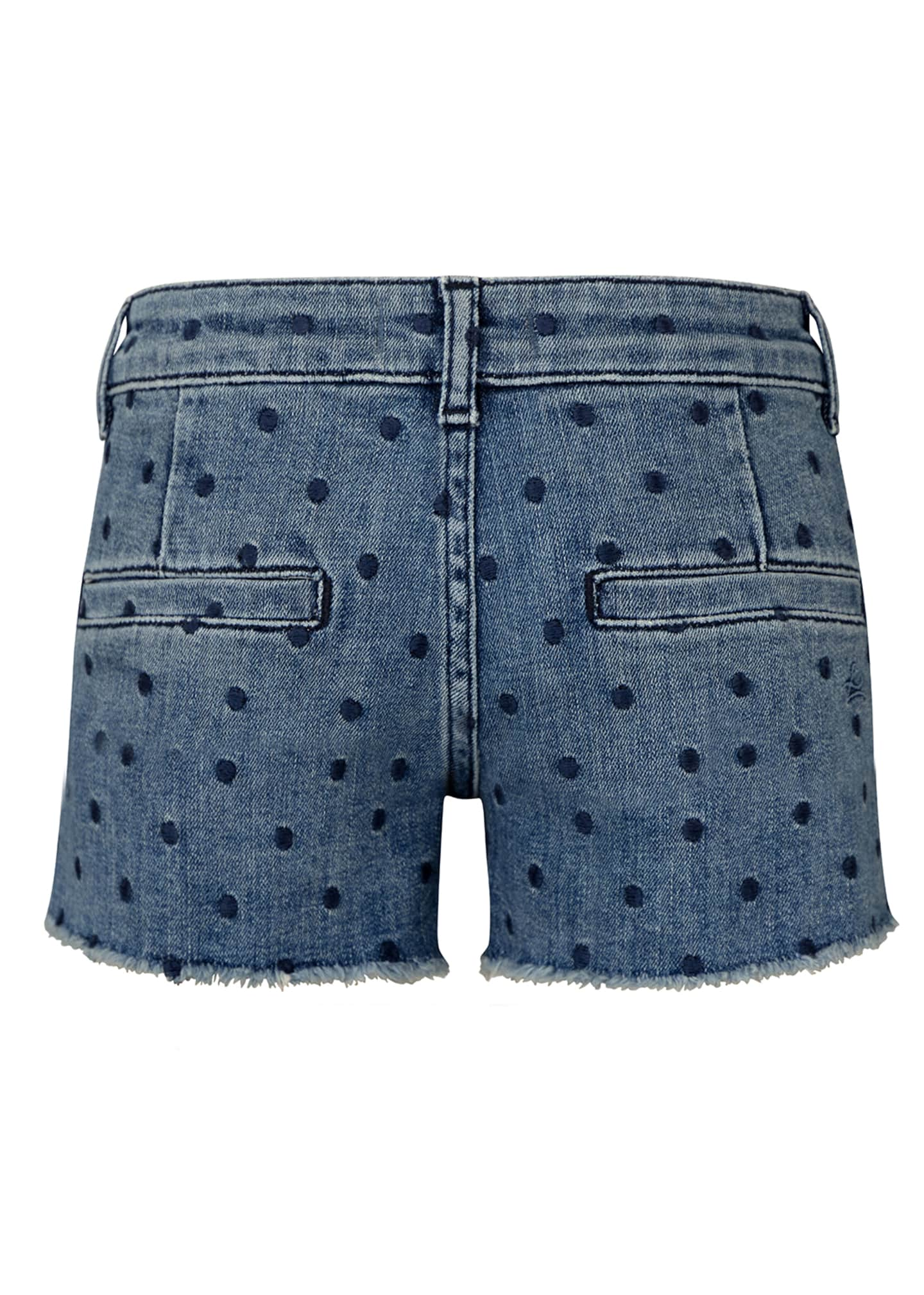 Image 2 of 2: Girl's Lucy Polka Dot Denim Cut Off Shorts, Size 2-6