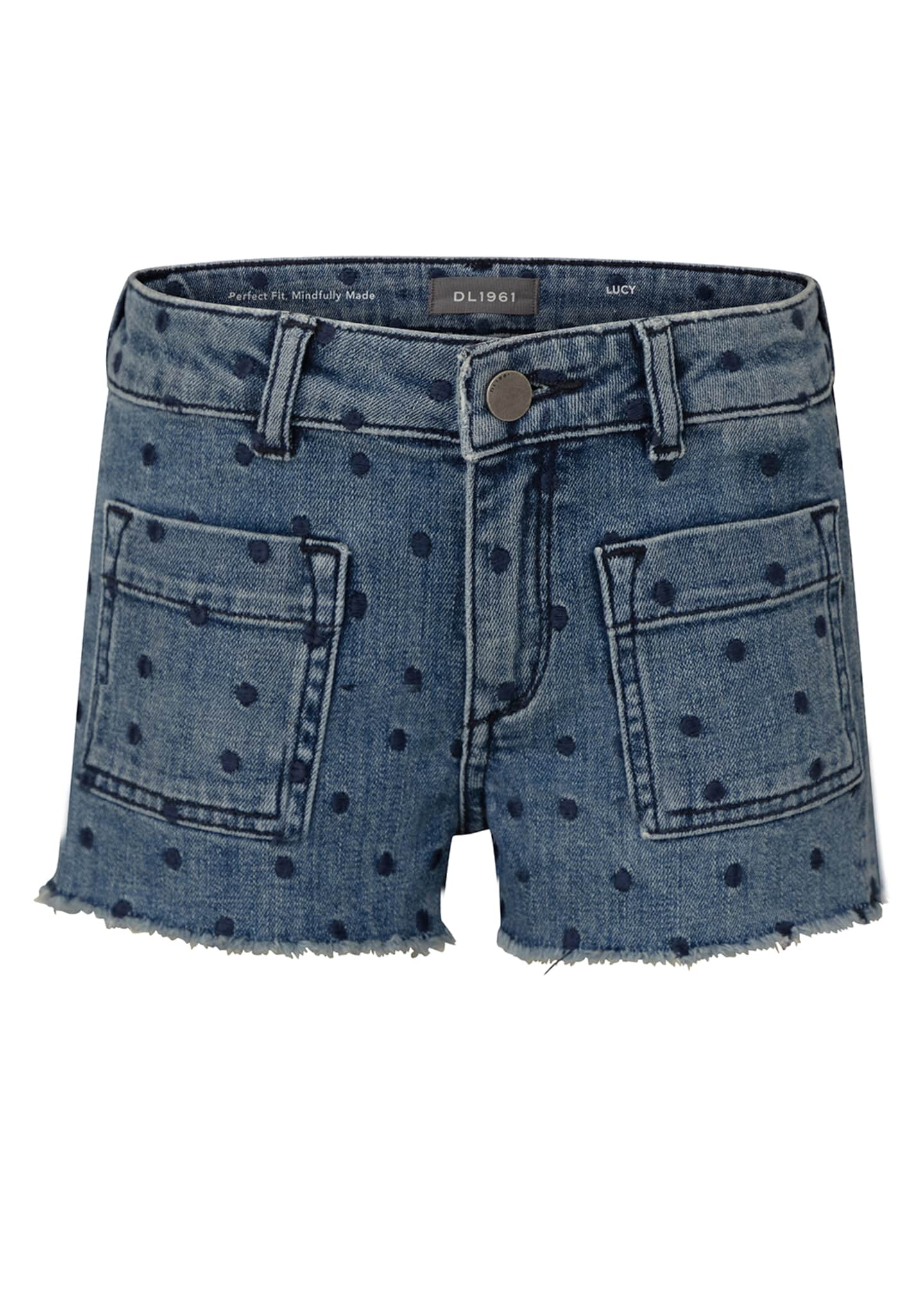 Image 1 of 2: Girl's Lucy Polka Dot Denim Cut Off Shorts, Size 2-6