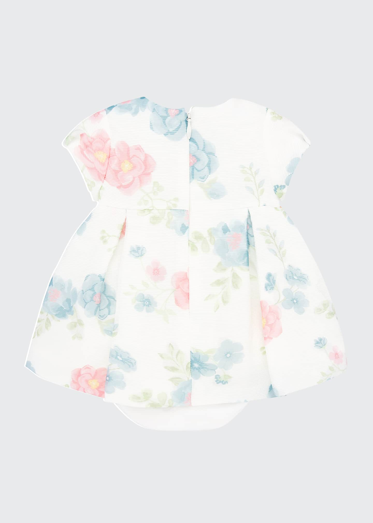 Image 3 of 3: Girl's Floral Print Short-Sleeve Dress w/ Bloomers, Size 4-18 Months