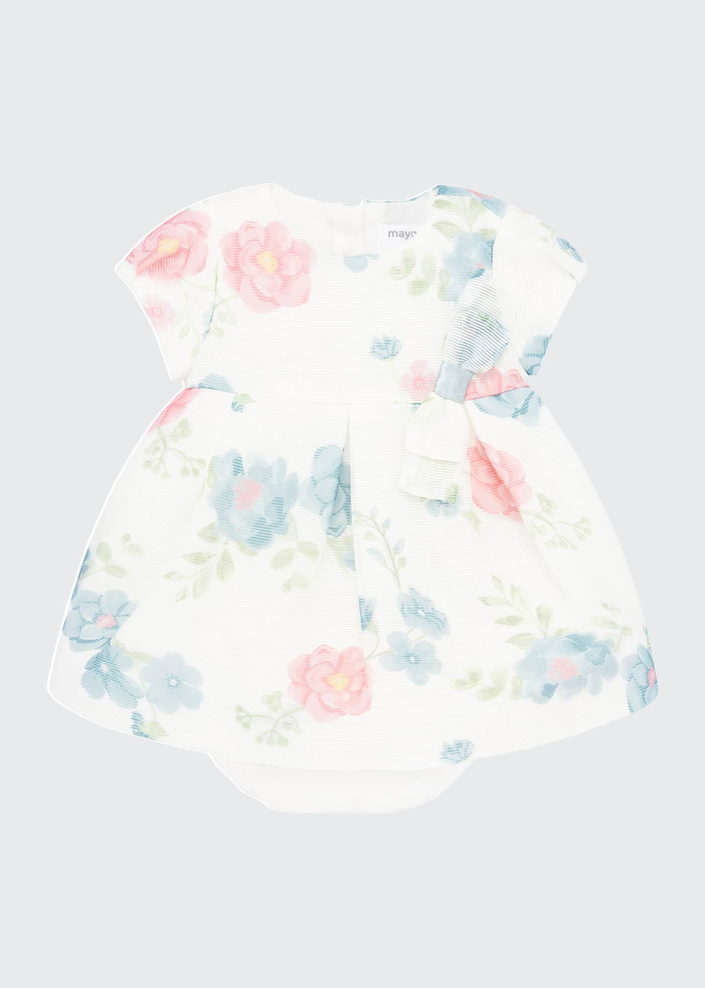 Image 1 of 3: Girl's Floral Print Short-Sleeve Dress w/ Bloomers, Size 4-18 Months