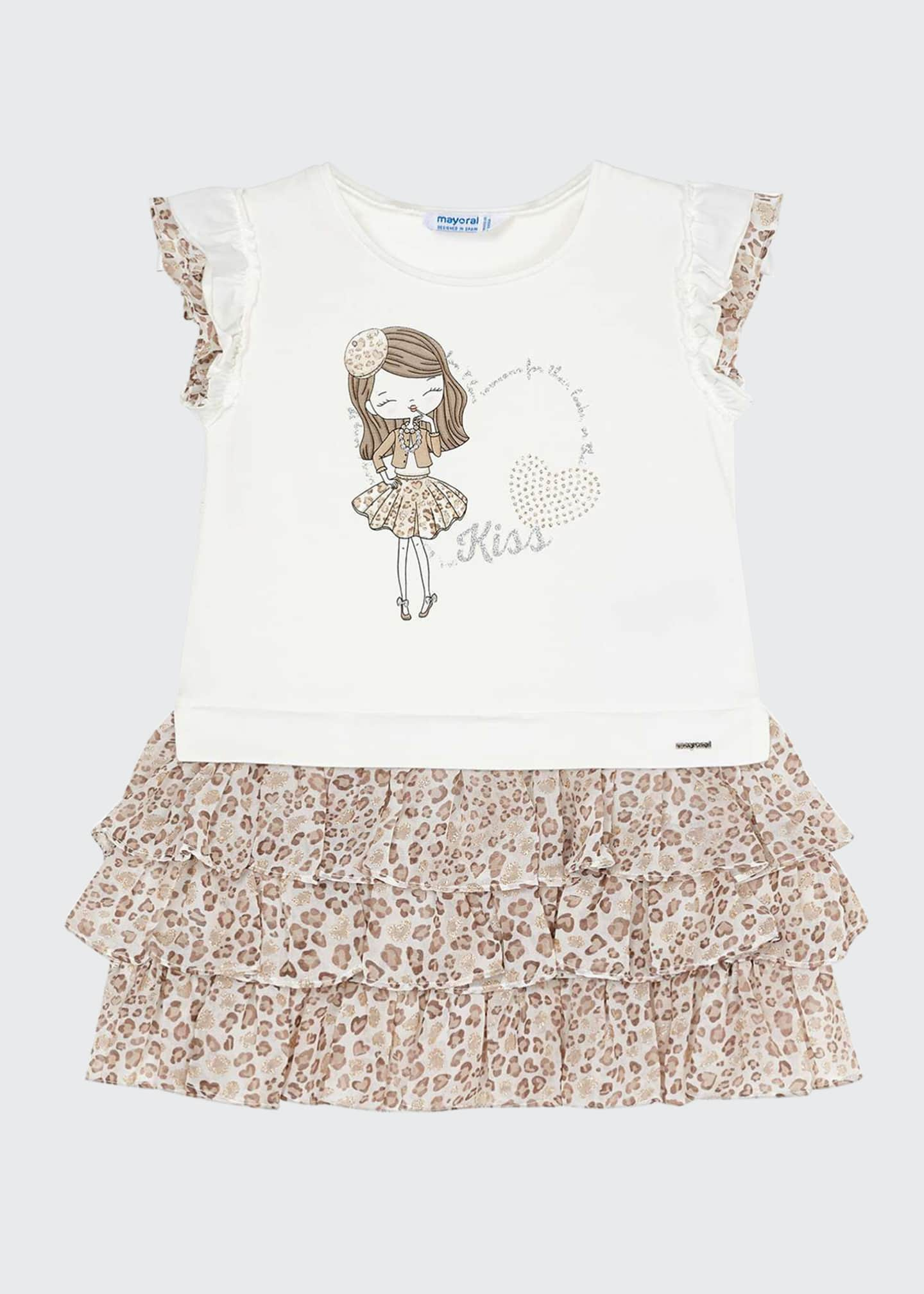 Image 1 of 3: Girl's Jersey Dress w/ Tiered Animal Print Skirt, Size 4-7