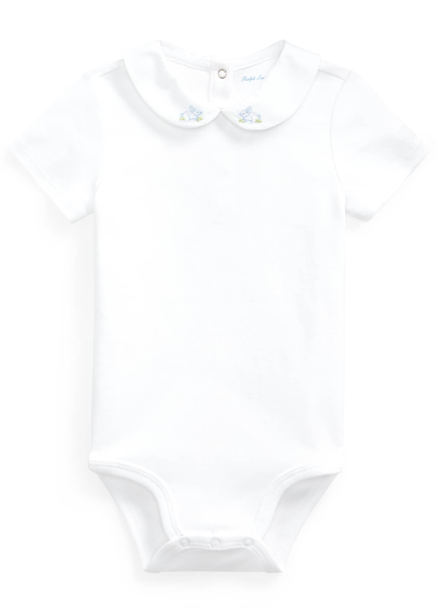 Image 1 of 2: Interlock Bunny Embroidery Bodysuit, Size 3-12 Months
