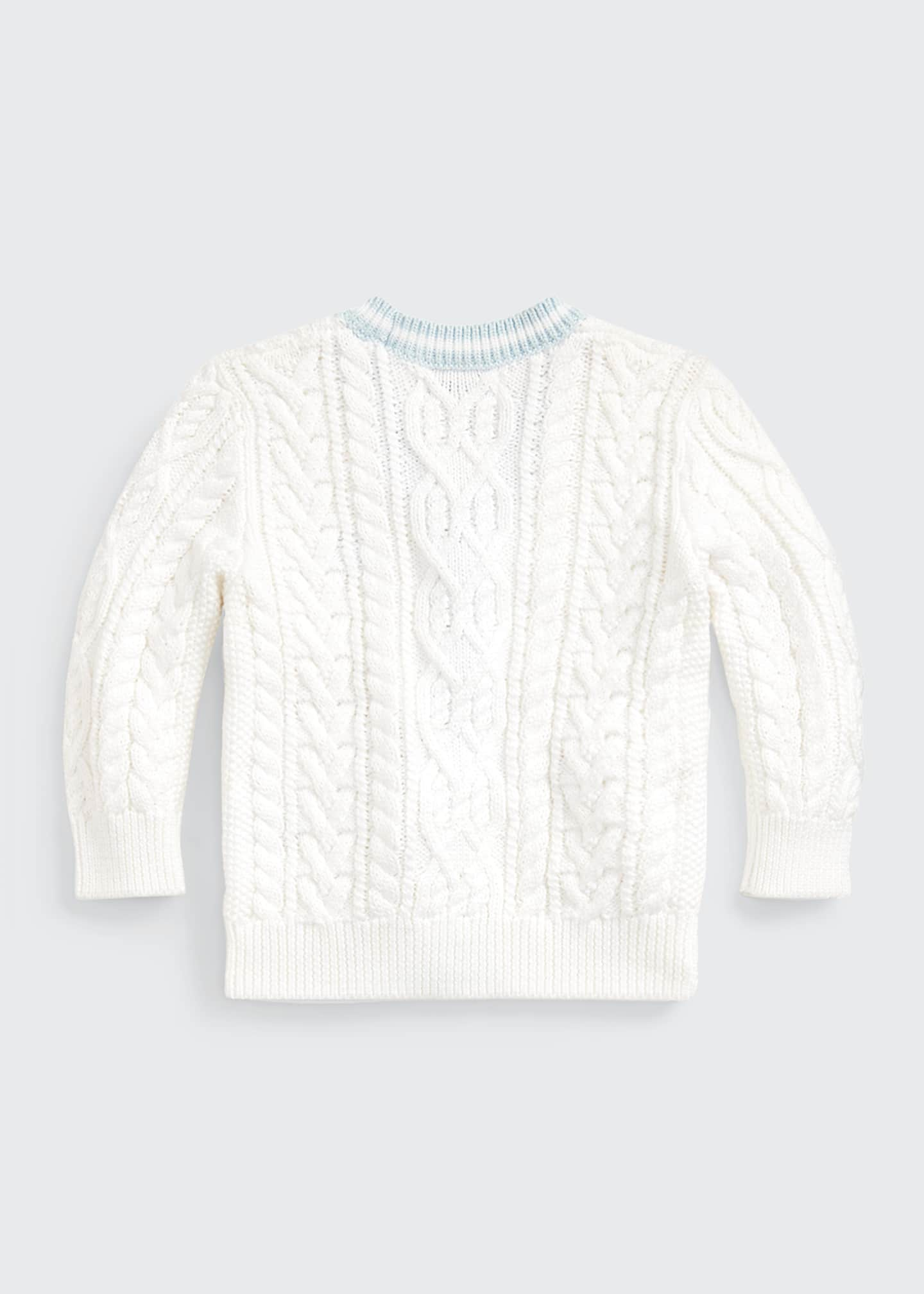 Image 3 of 3: Cable Knit V-Neck Cardigan, Size 6-24 Months