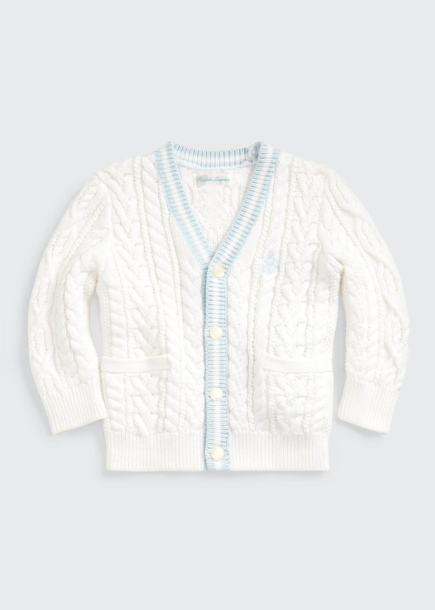 Image 1 of 3: Cable Knit V-Neck Cardigan, Size 6-24 Months