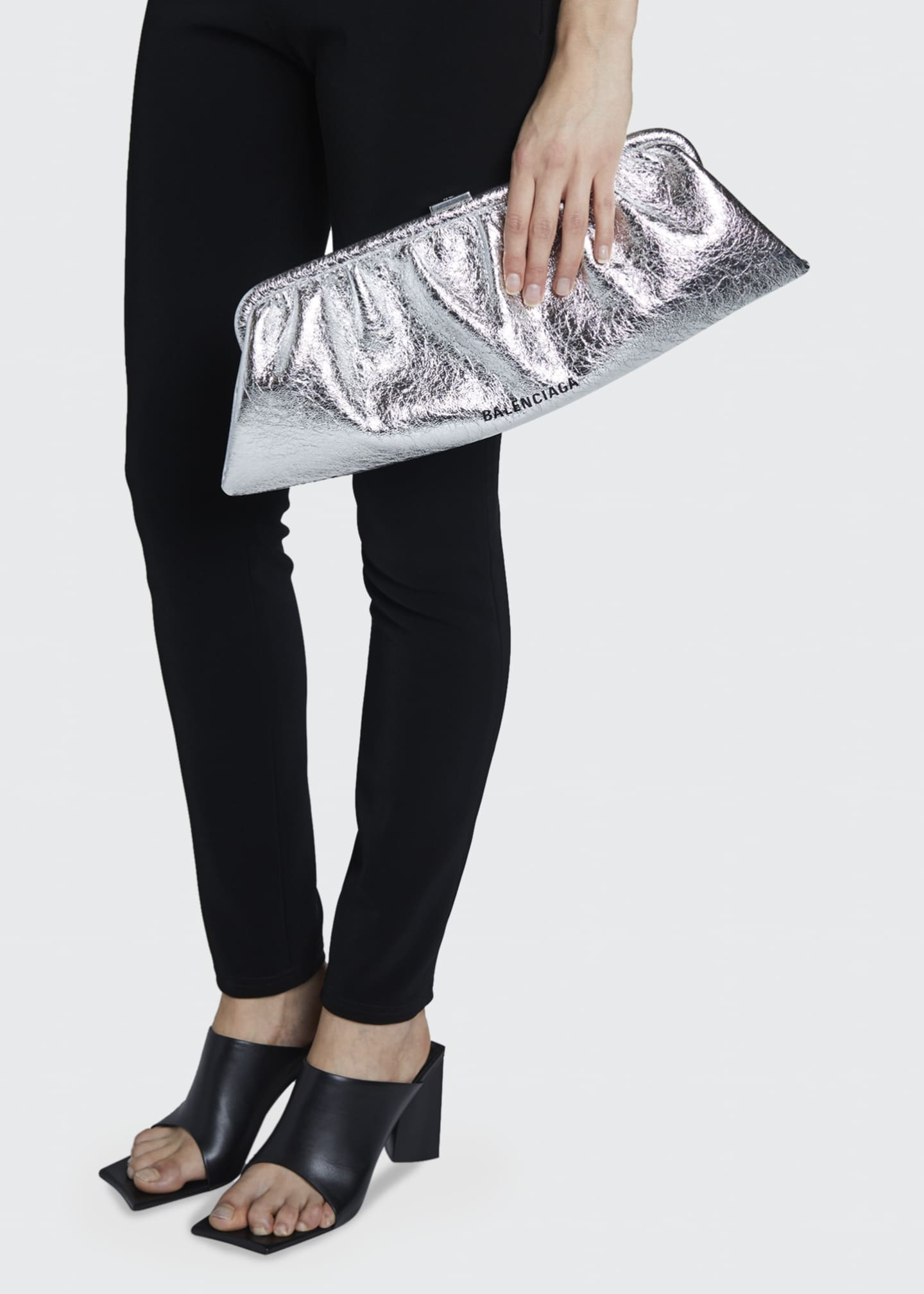 Image 2 of 5: Cloud XL Metallic Leather Clutch Bag